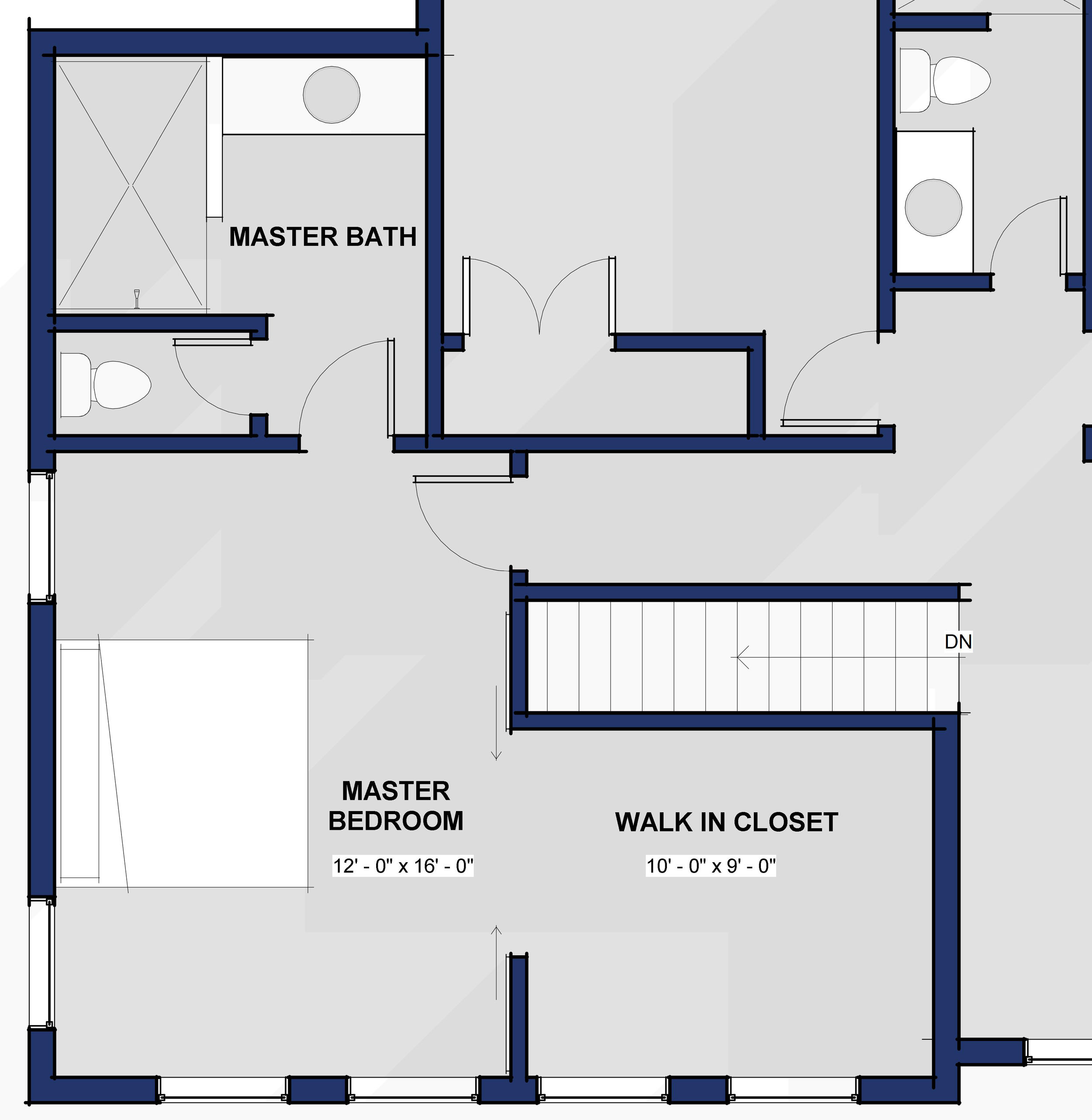 An average sized master bedroom with dual sliding doors into a large closet.