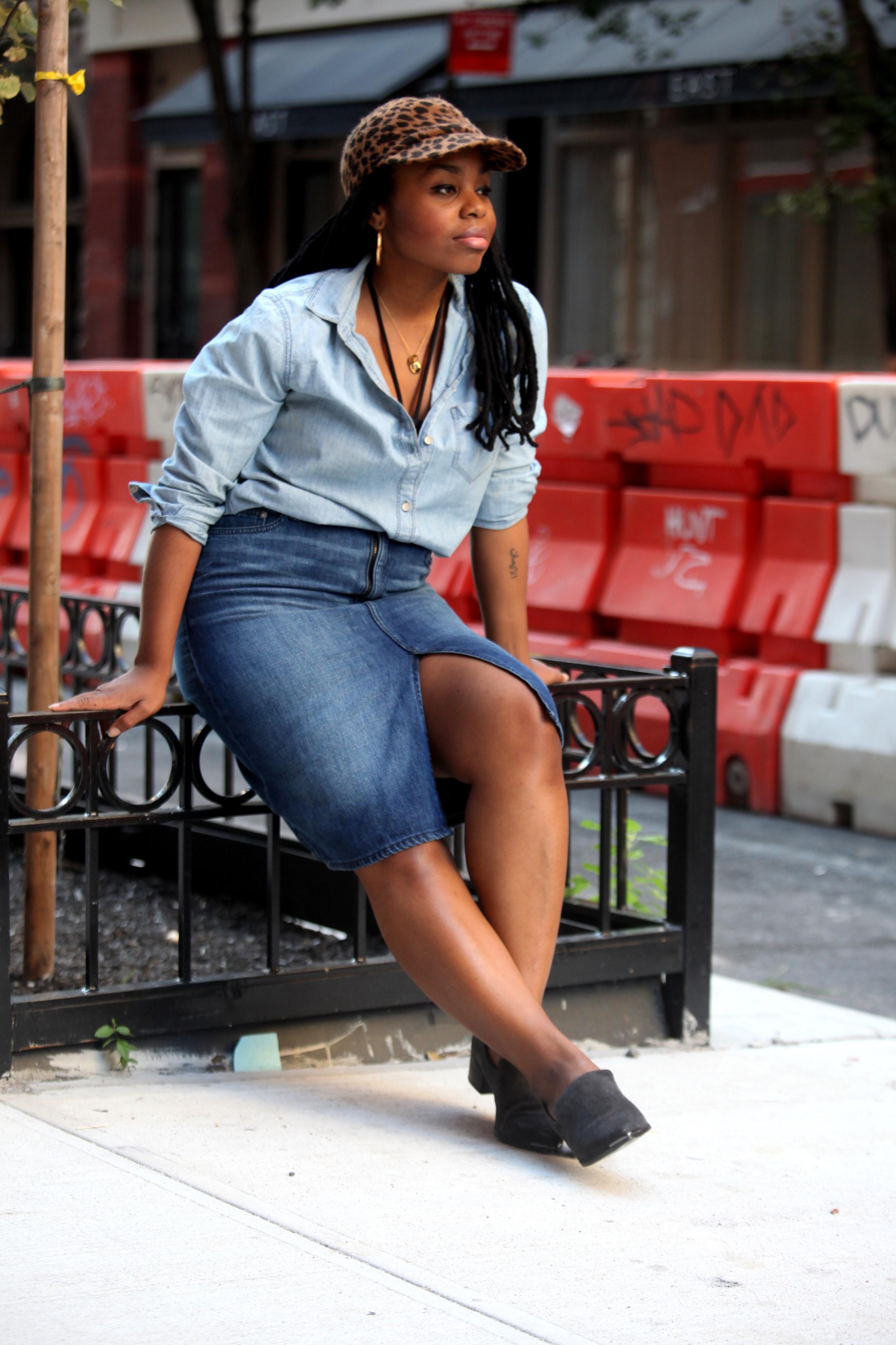 Hat: Nasty Gal, Top & Skirt: The Gap, Bikini top: Mara Hoffman, Shoes: Dolce Vita