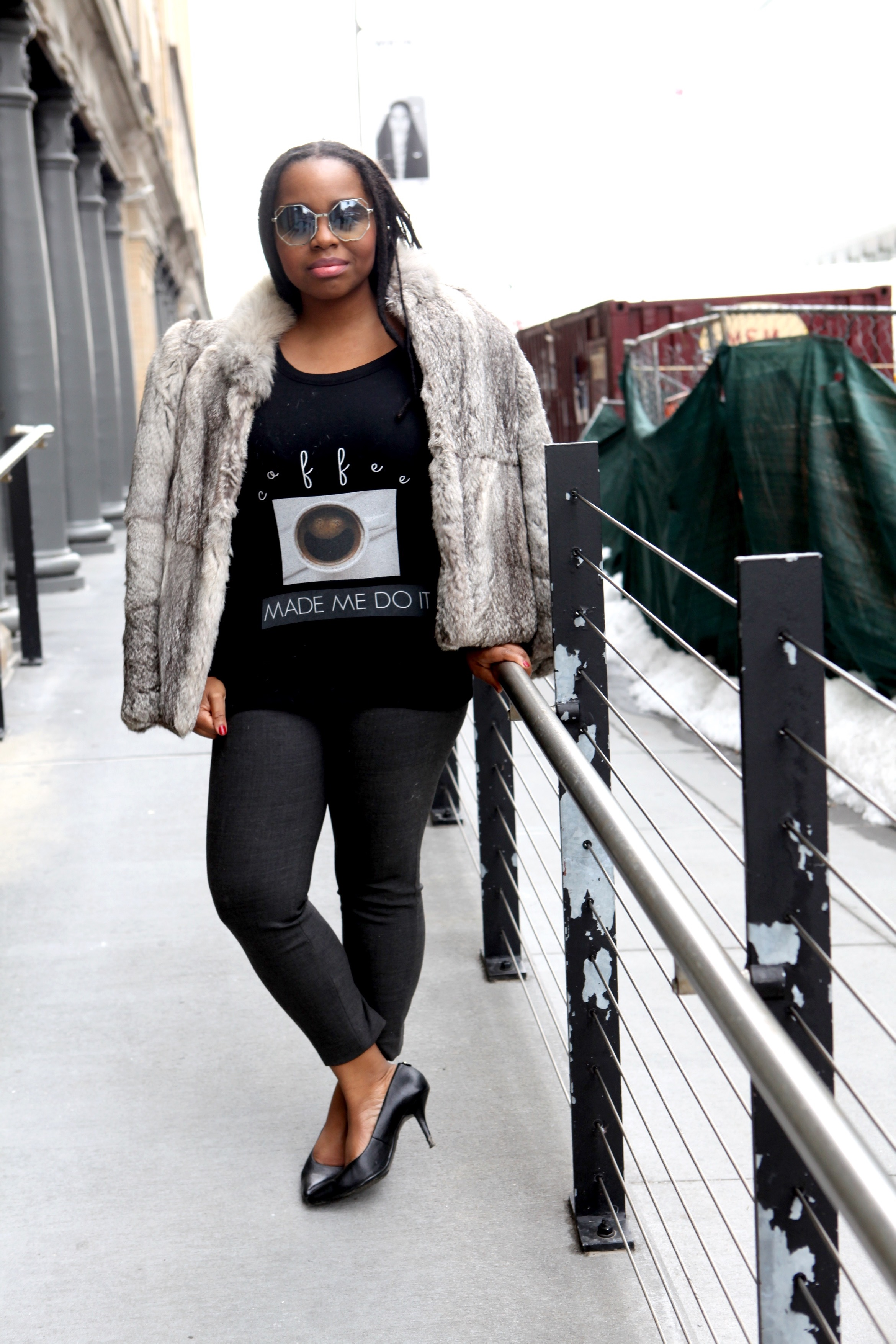 Faux fur coat, Sweatshirt:  1214 By. Candy Washingto n, Sunglasses:  LoveDay31 , Trousers: JCrew, Shoes:  Michael Kors