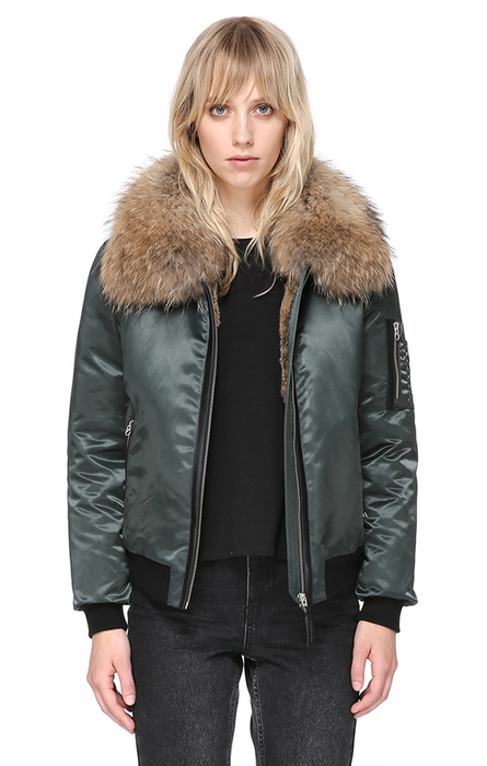 RELLA-SA BOMBER CUT JACKET WITH FUR-LINED COLLAR