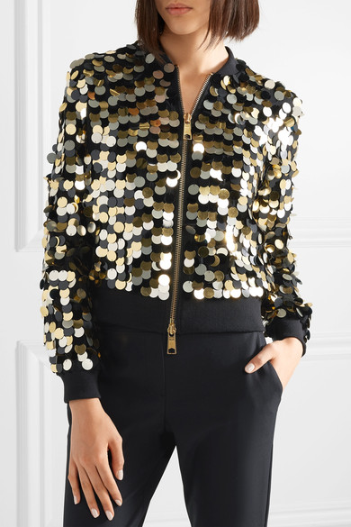 Emilia ribbed-jersey trimmed sequined crepe bomber jacket
