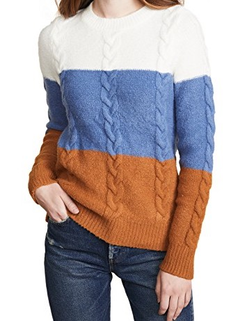 endless rose Cable Knit Striped Sweater