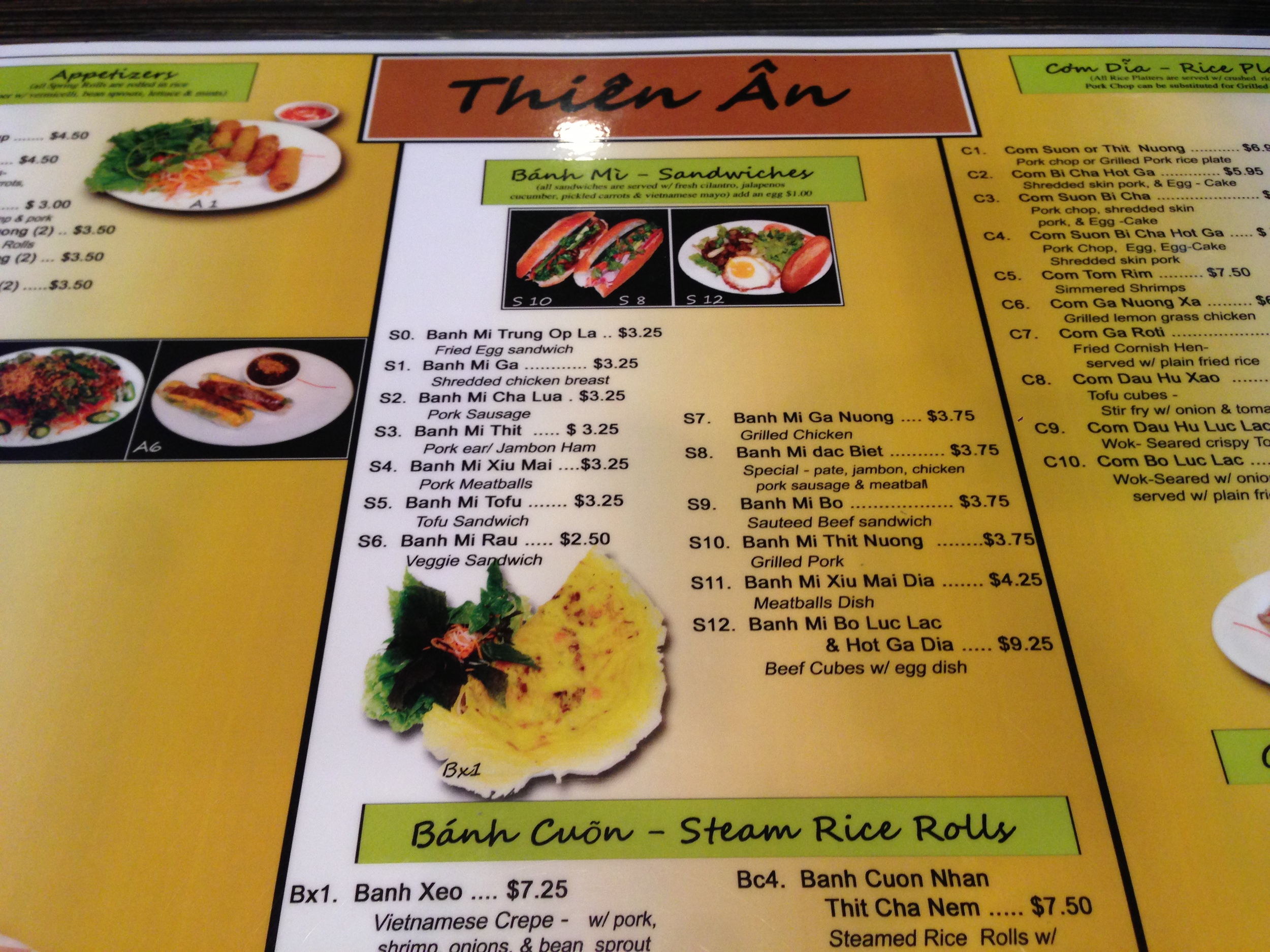 Thien An's menu. So many options, so little time.