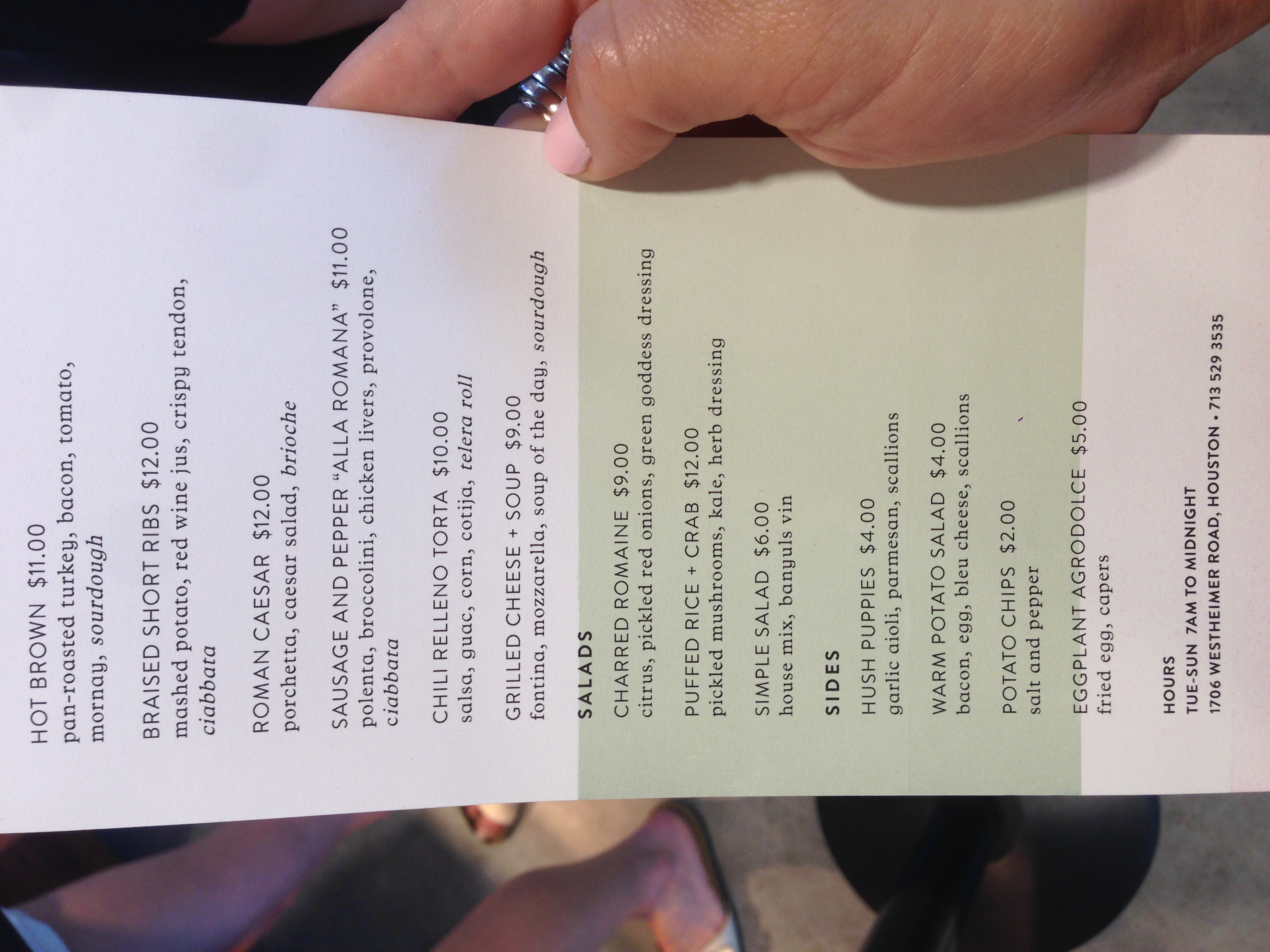 common bond menu