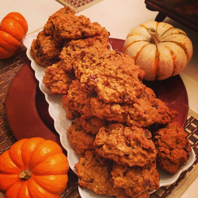pumpkin oatmeal chocolate chip walnut cookies