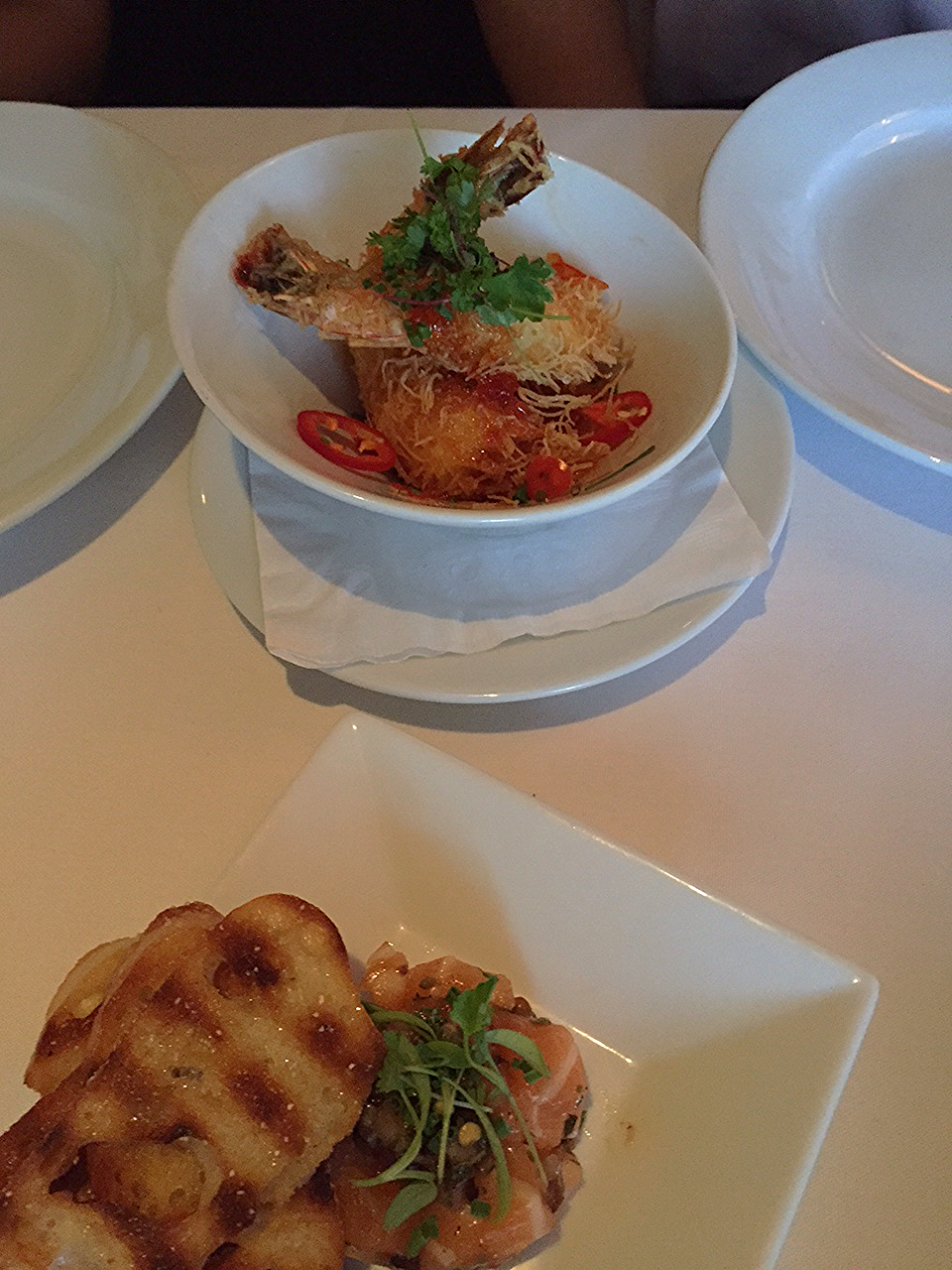 Salmon Tartare & Shrimp Kataifi. Really great quality shrimp, well cooked, not soggy or over cooked at all.