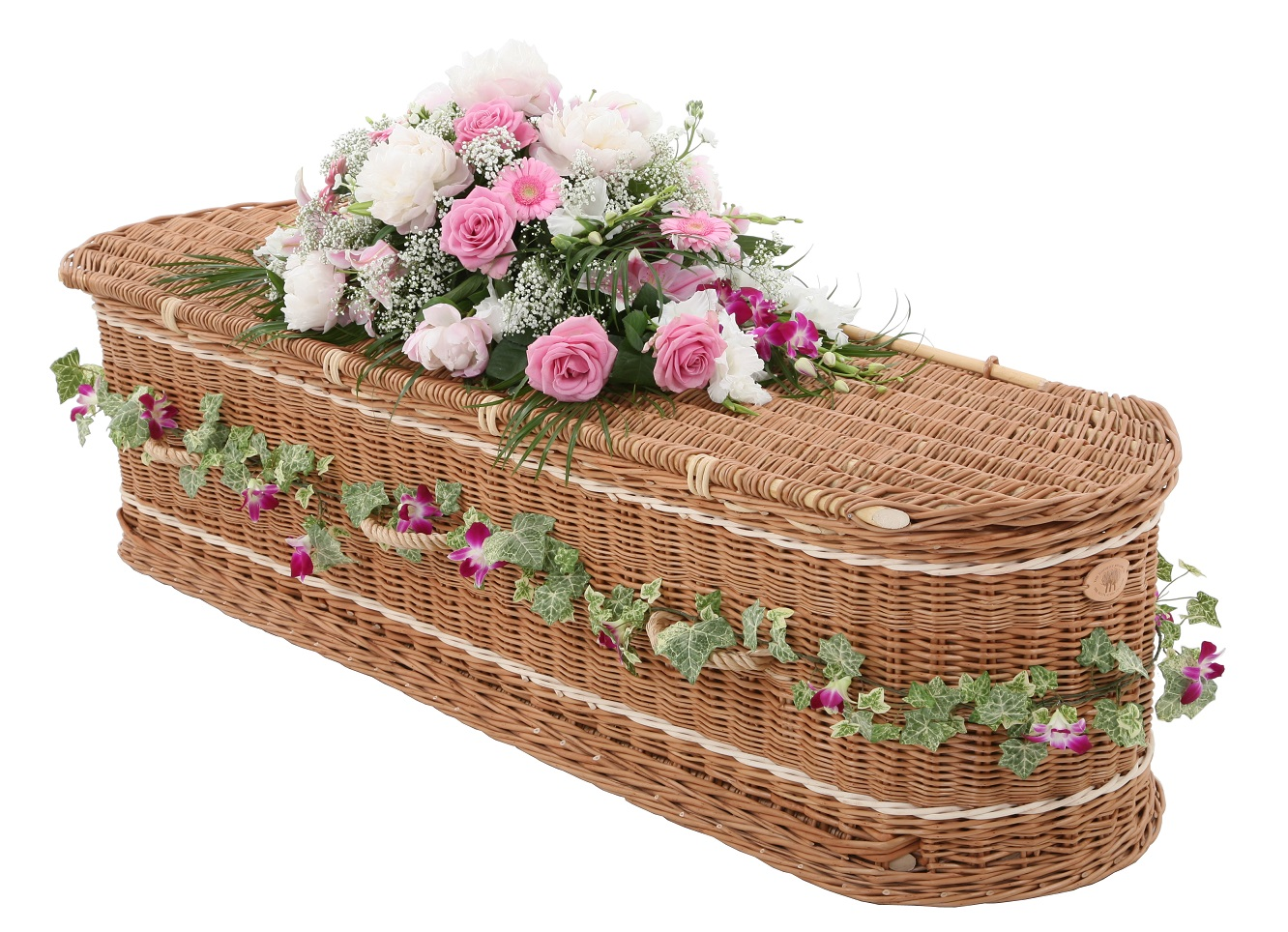 Willow Coffins    Our Willow coffins are made in somerset, england and are hand made.they can be decorated with a floral garland and come in a wide range of colours