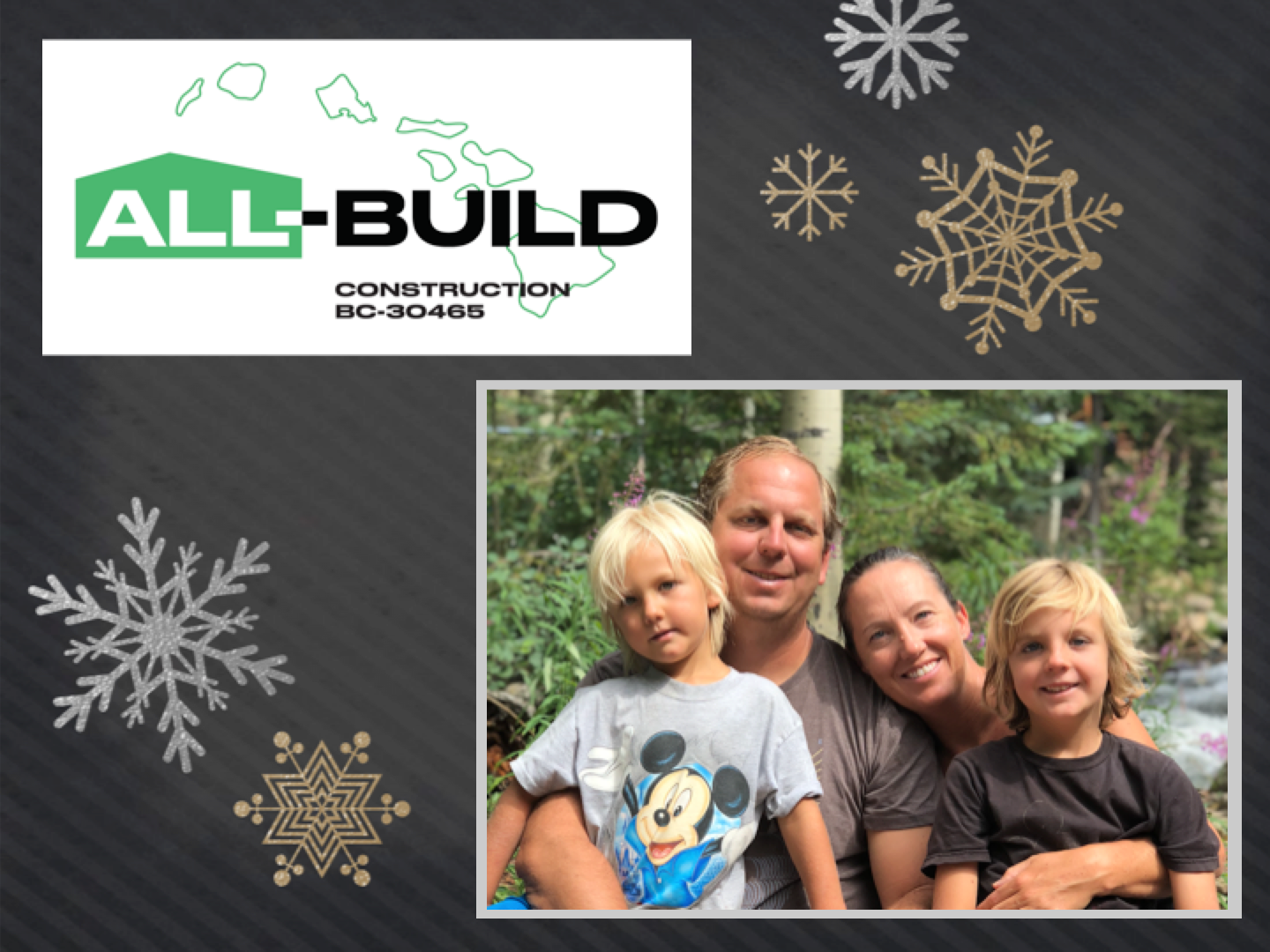 Wishing you and yours a joyful holiday season and a great start to the new year!     From The Sims Family, James, Jill, Parker & Grayson