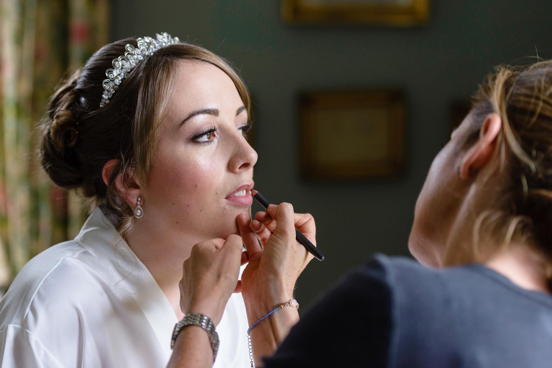 Bridal prep at Langar Hall