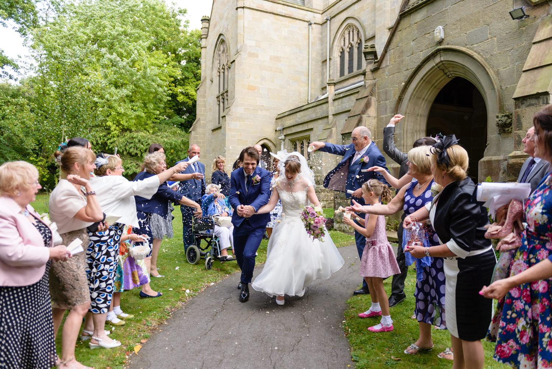 Confetti at Langar Hall wedding