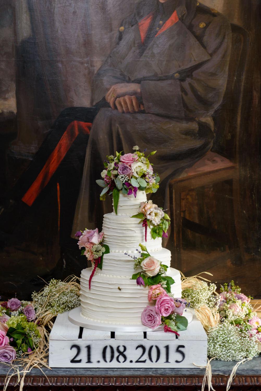 Wedding cake at Langar Hall