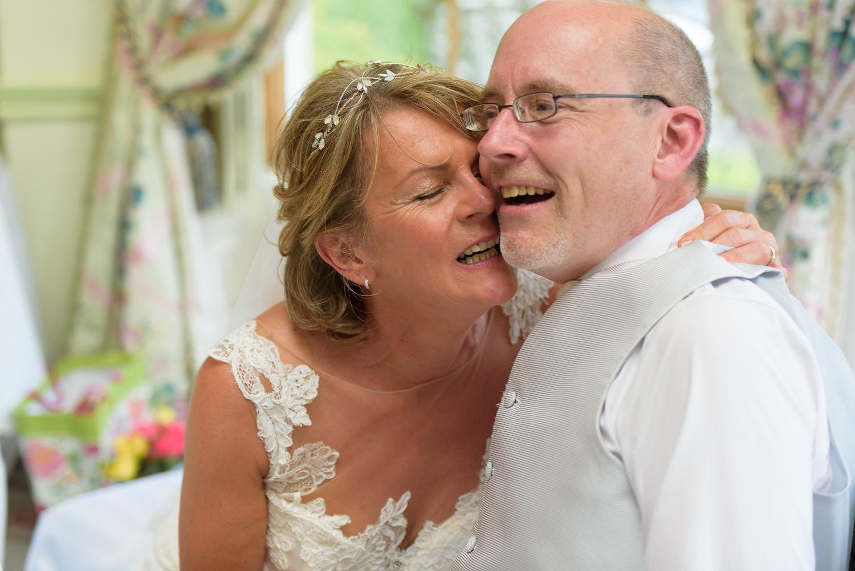 bride and groom at hassop hall wedding