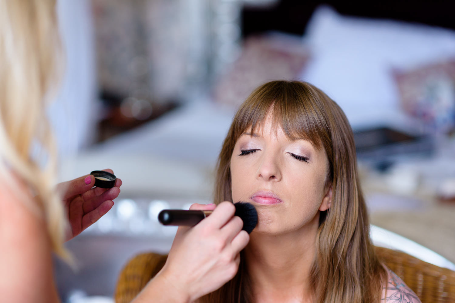 Bride getting ready at her Callow hall wedding