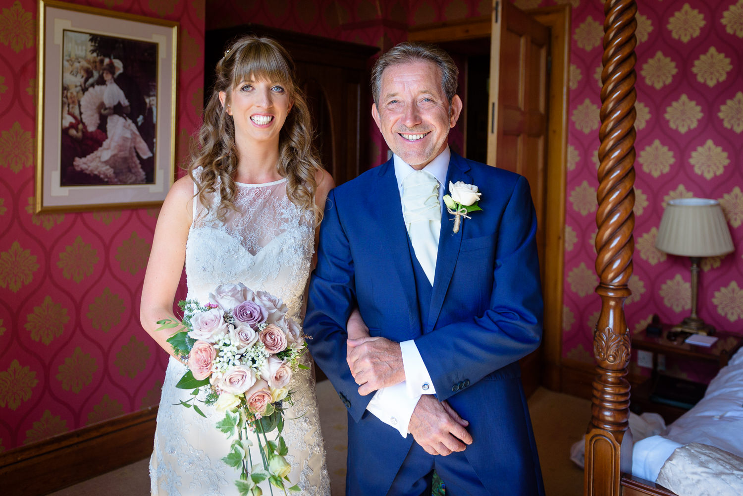 Bride and her father at Callow Hall wedding