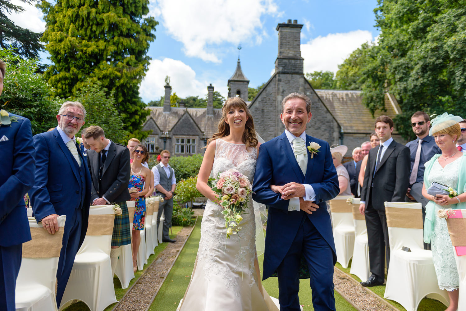 Outdoor wedding ceremony at Callow Hall