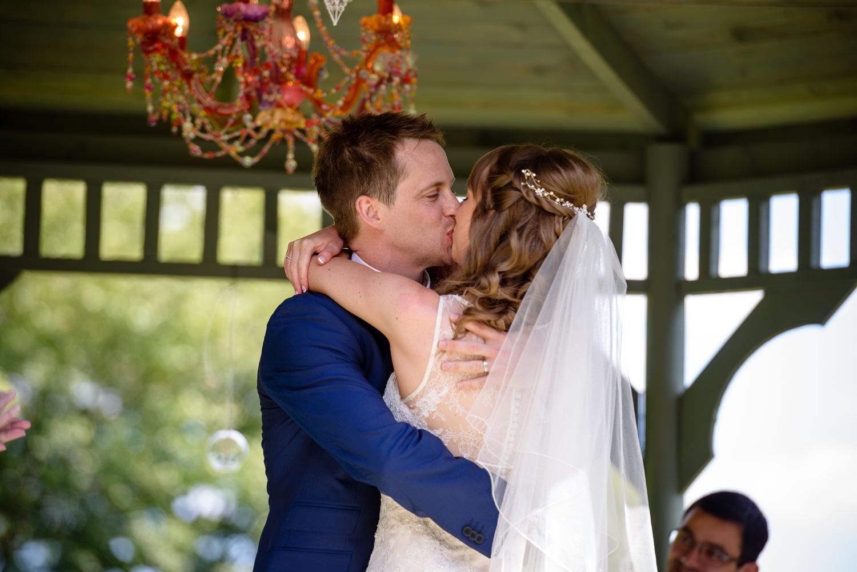 First kiss at Callow hall wedding