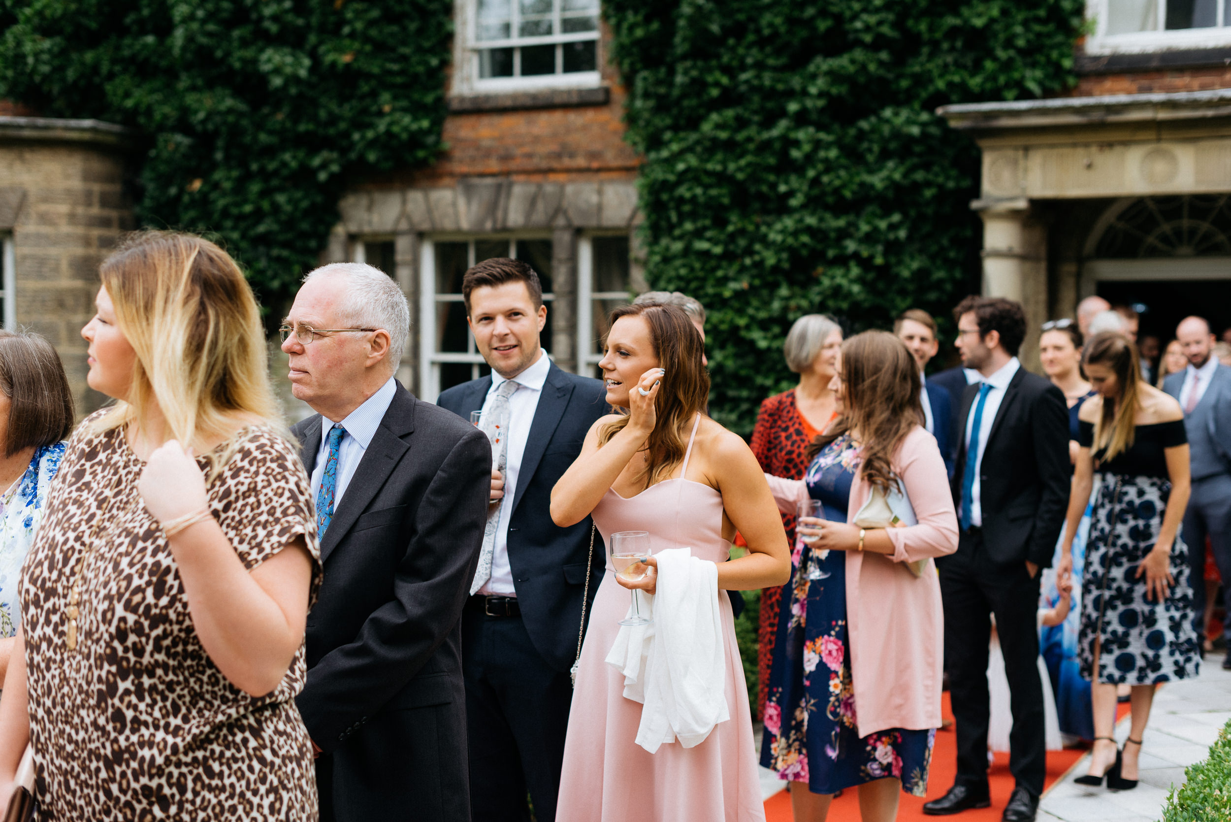 Wedding guests at Risley Hall