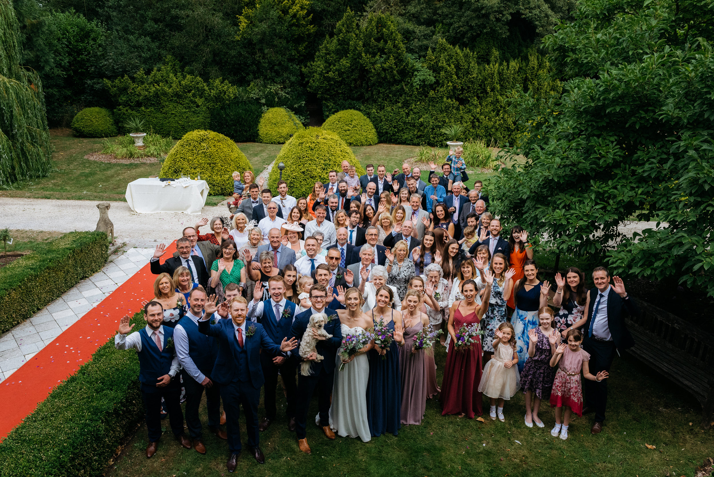 Group shot of at the guests at Risley Hall