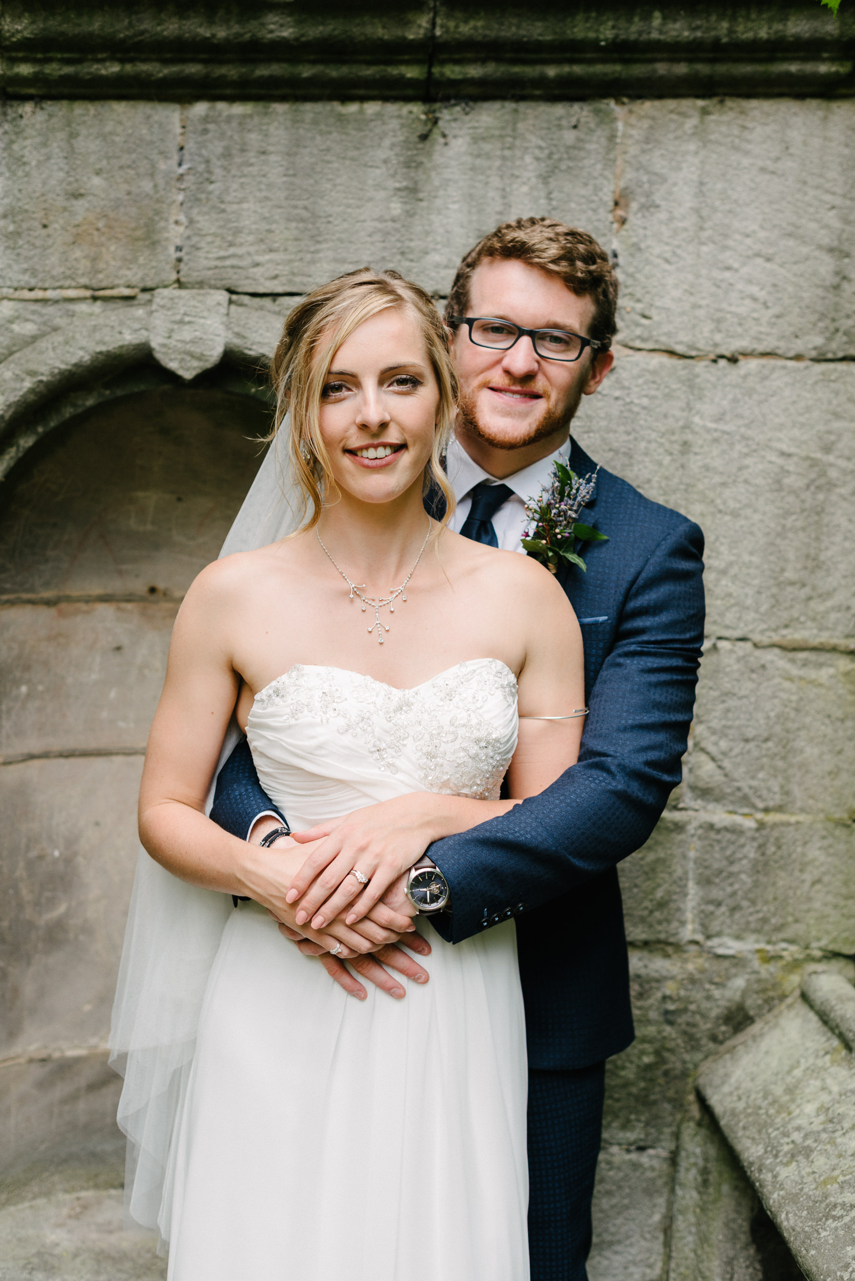 Bride and groom on their wedding day at Risley Hall