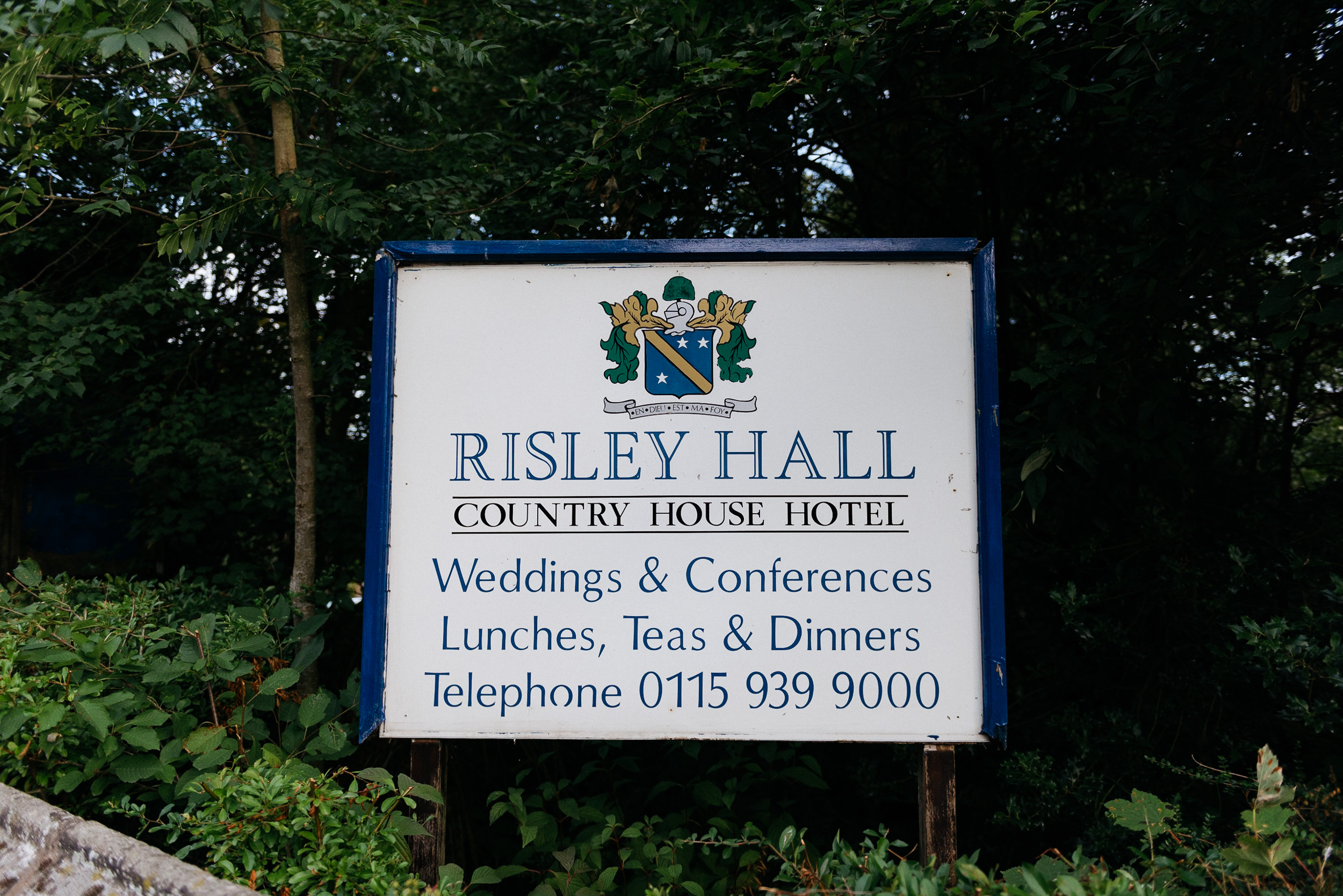 Risley Hall Welcome board