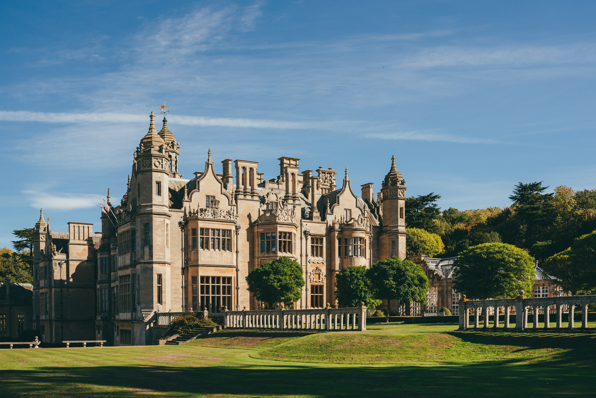 Rear view of harlaxton manor in the sunshine
