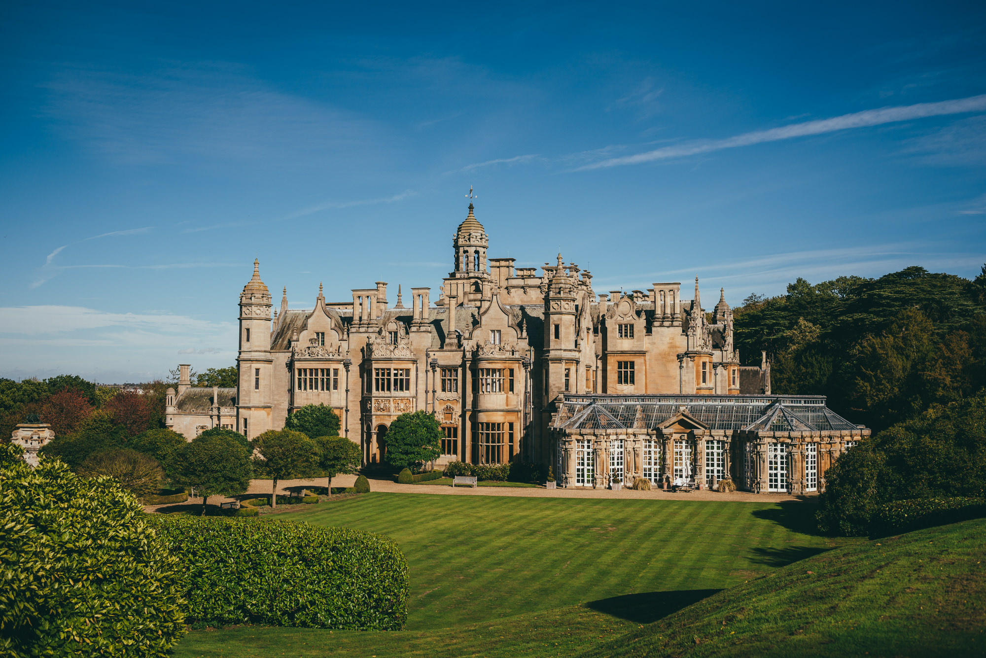 High up view of harlaxton manor