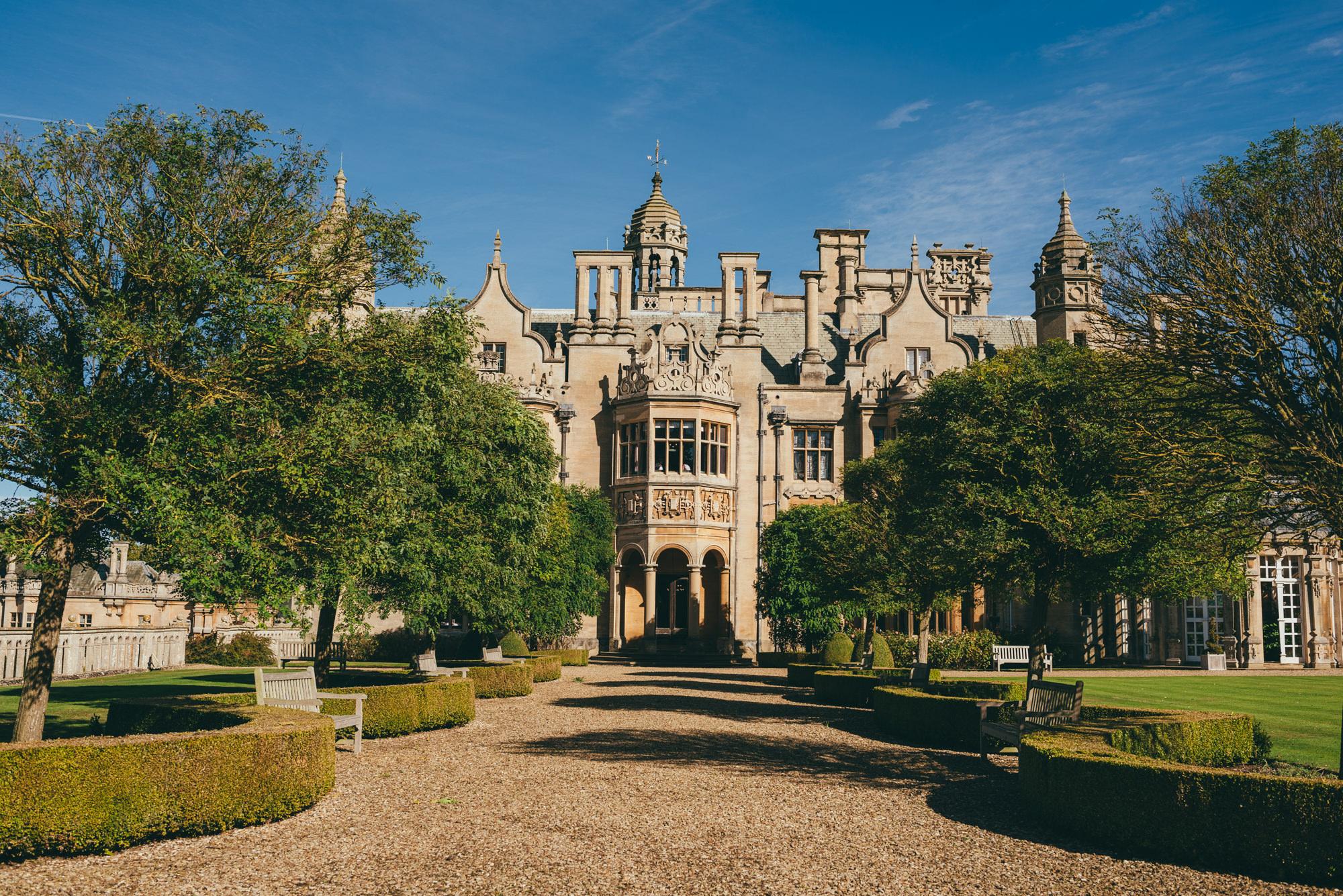Harlaxton manor in the sunshine