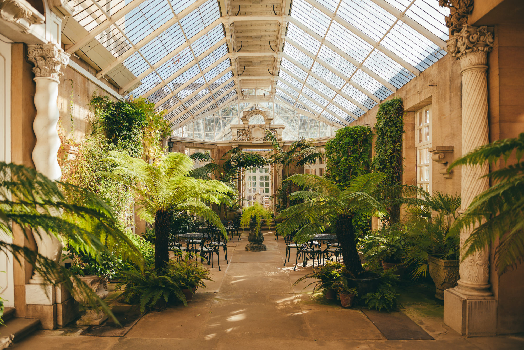 the conservatory in the sunlight at Harlaxton Manor
