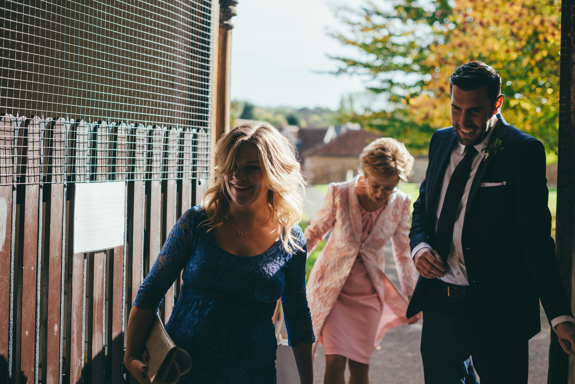 grooms mother arrives at church