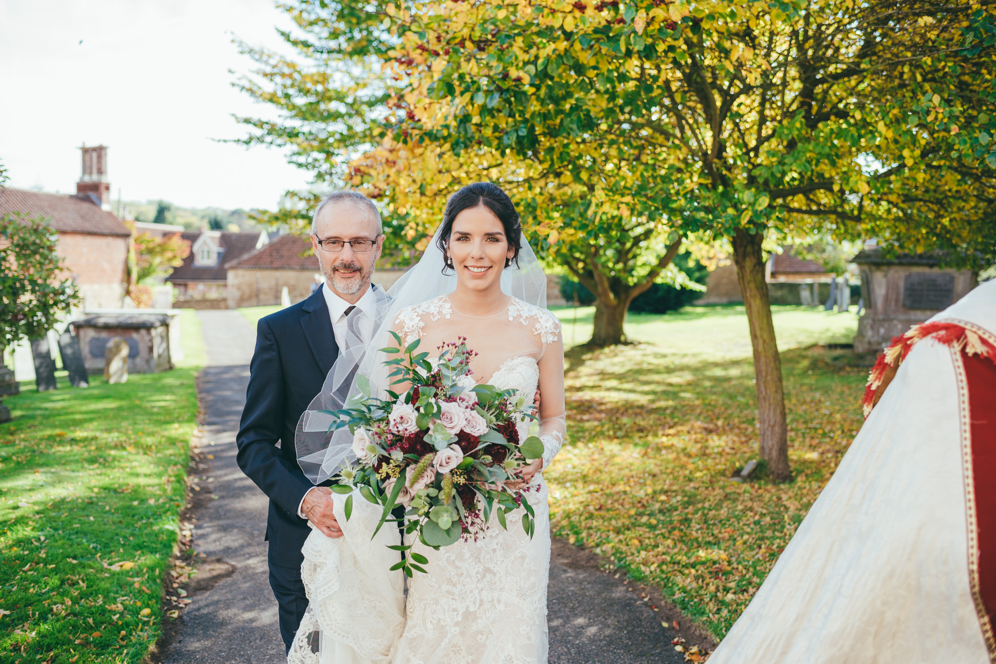 bridesmaid and her father