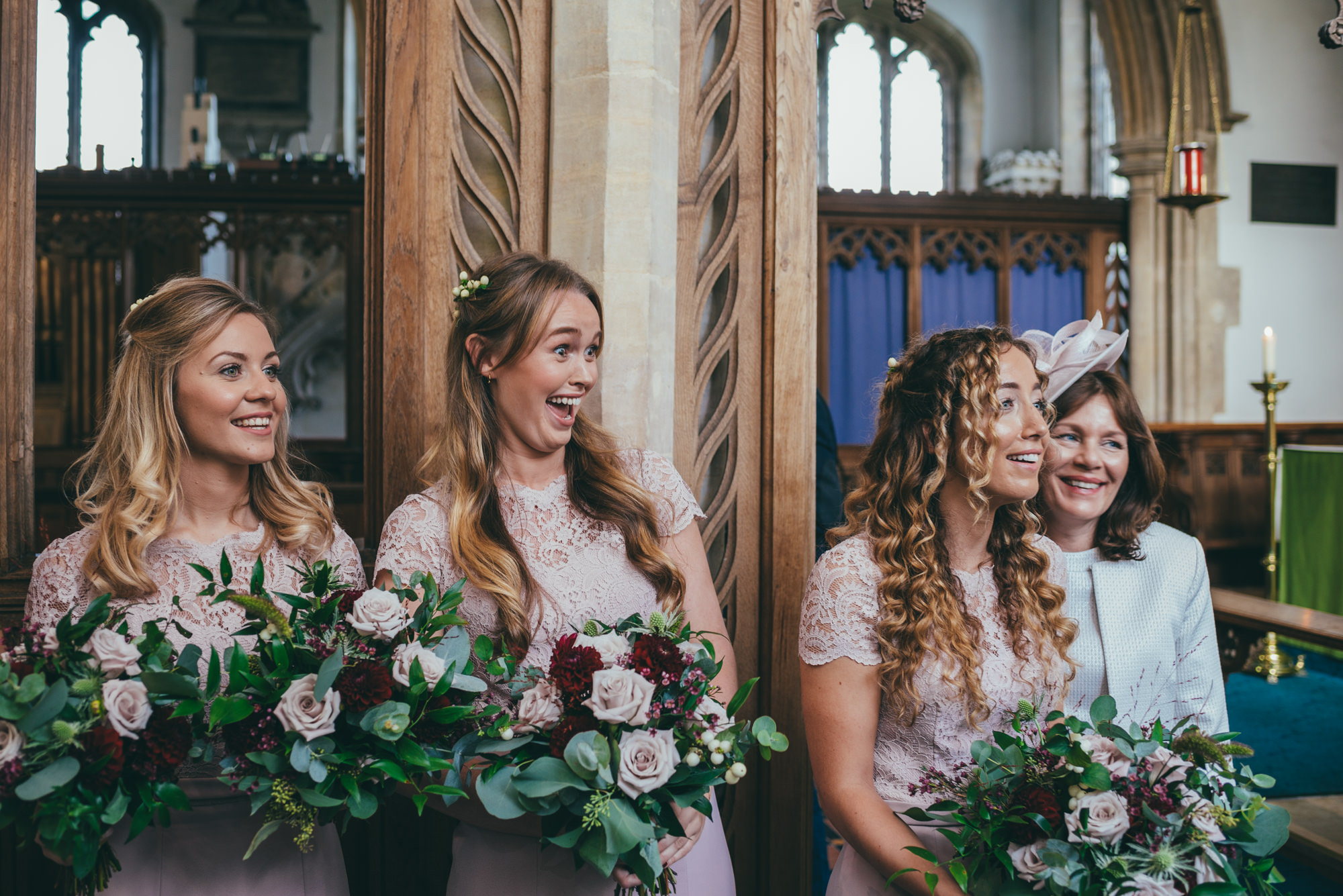 bridesmaids sharing a joke