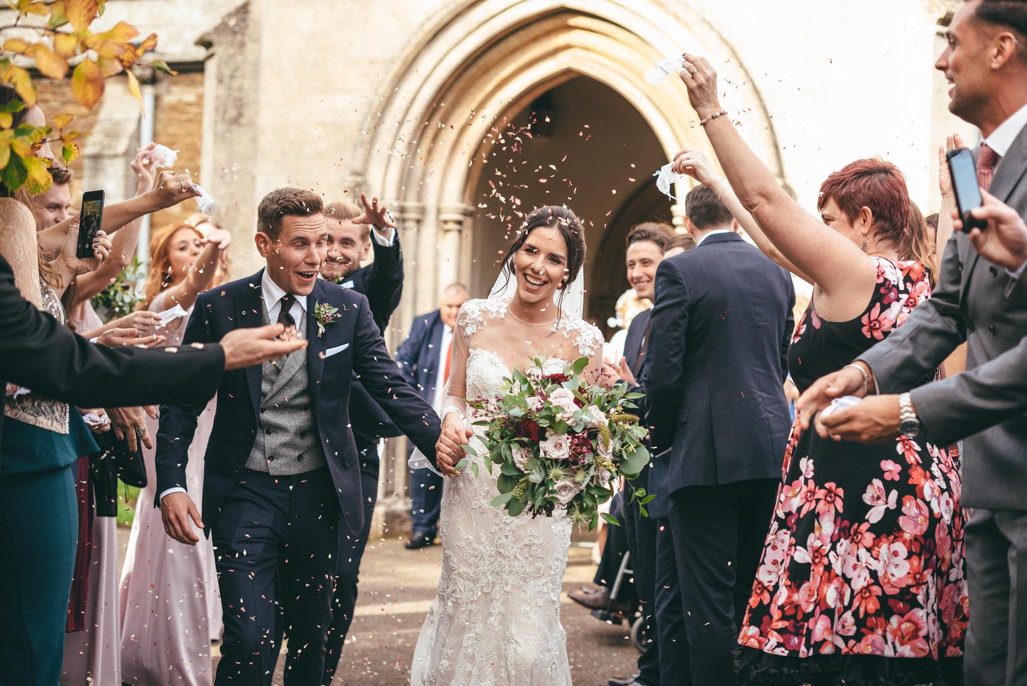 confetti thrown over the bride