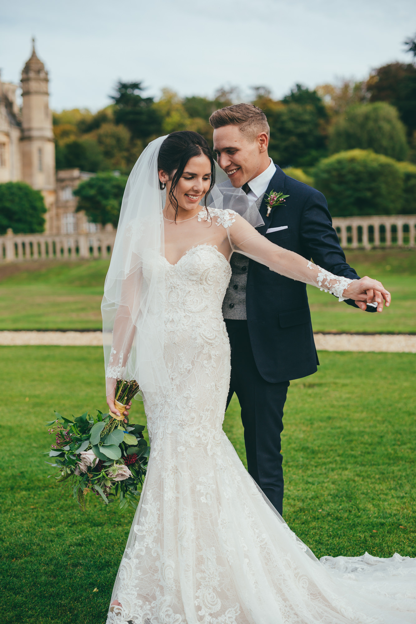 bride and groom at harlaxton manor