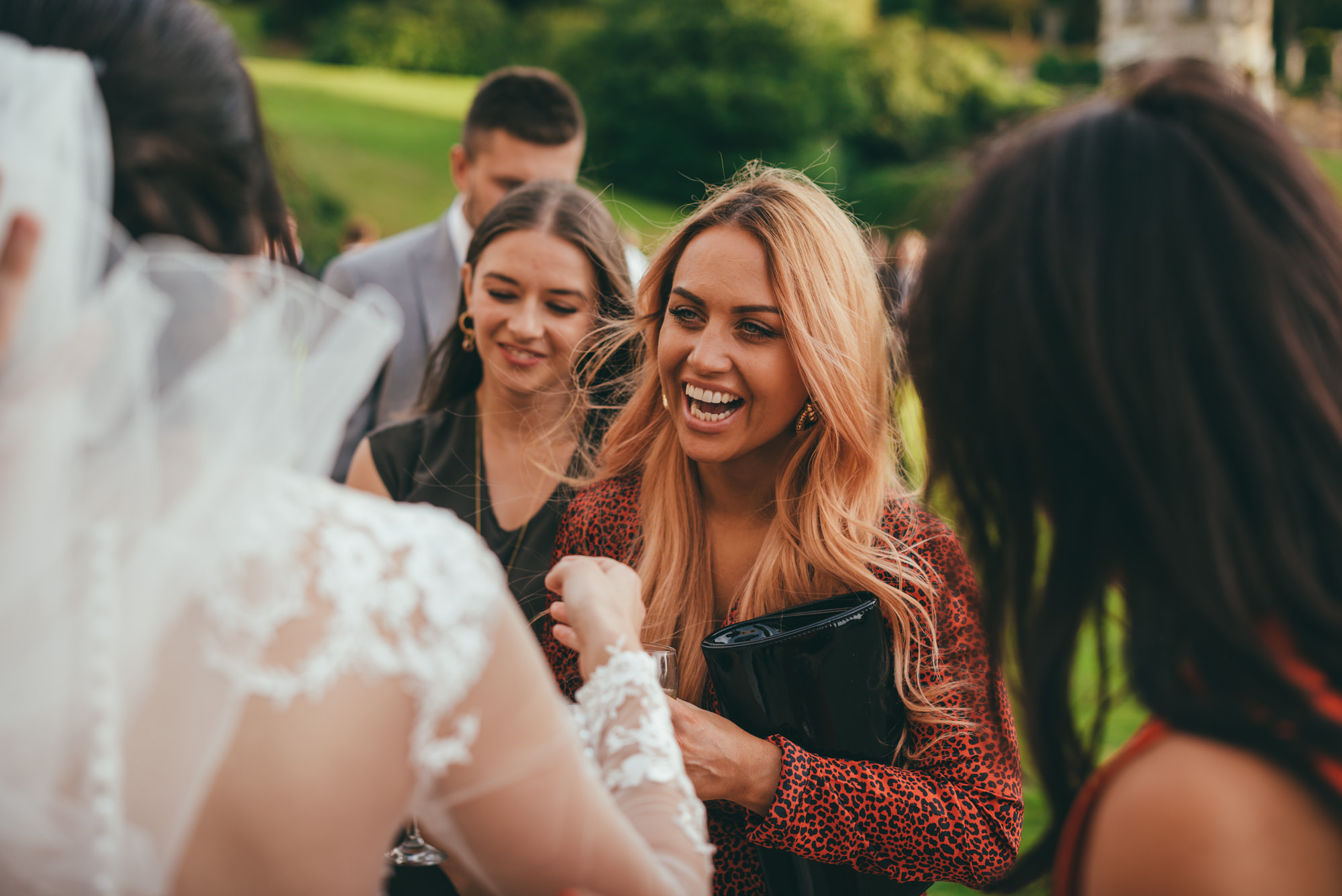 bride having fun with her friends