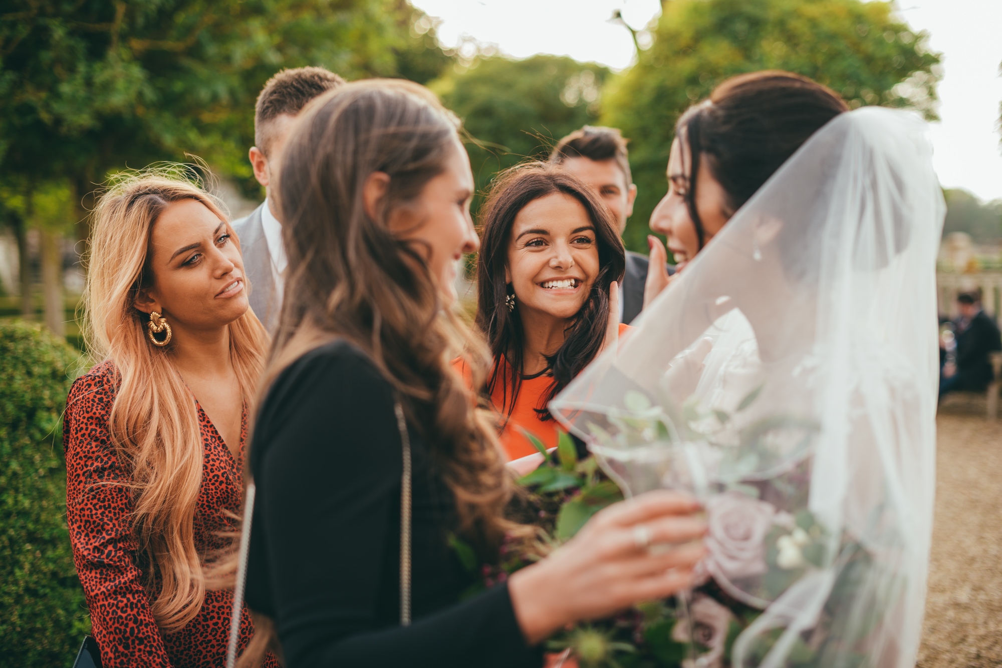 bride talks with friends