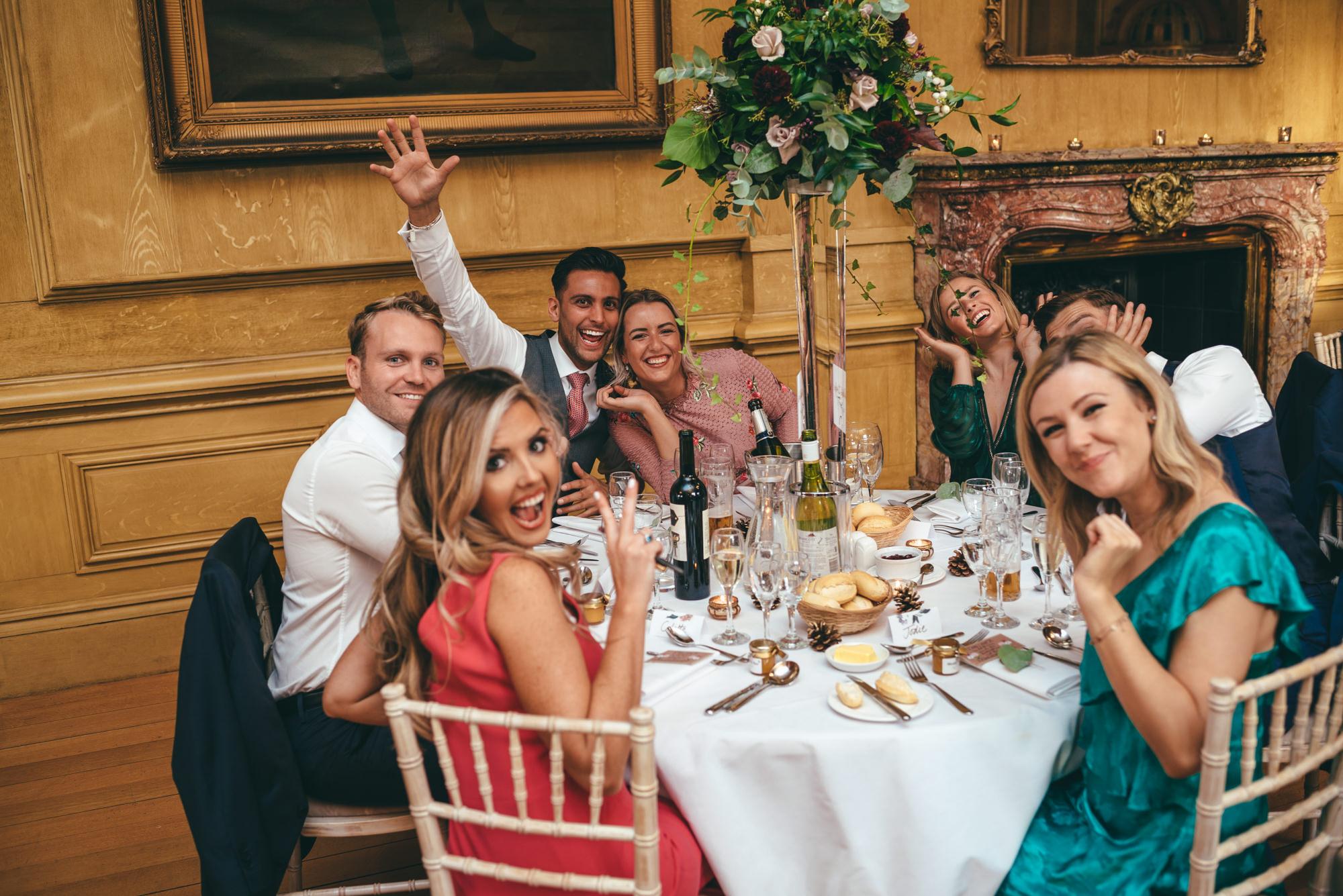 wedding guests having fun at harlaton manor