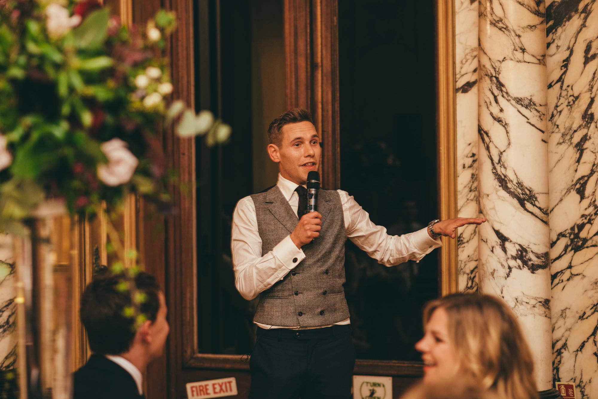 groom makes a speech at harlaxton manor