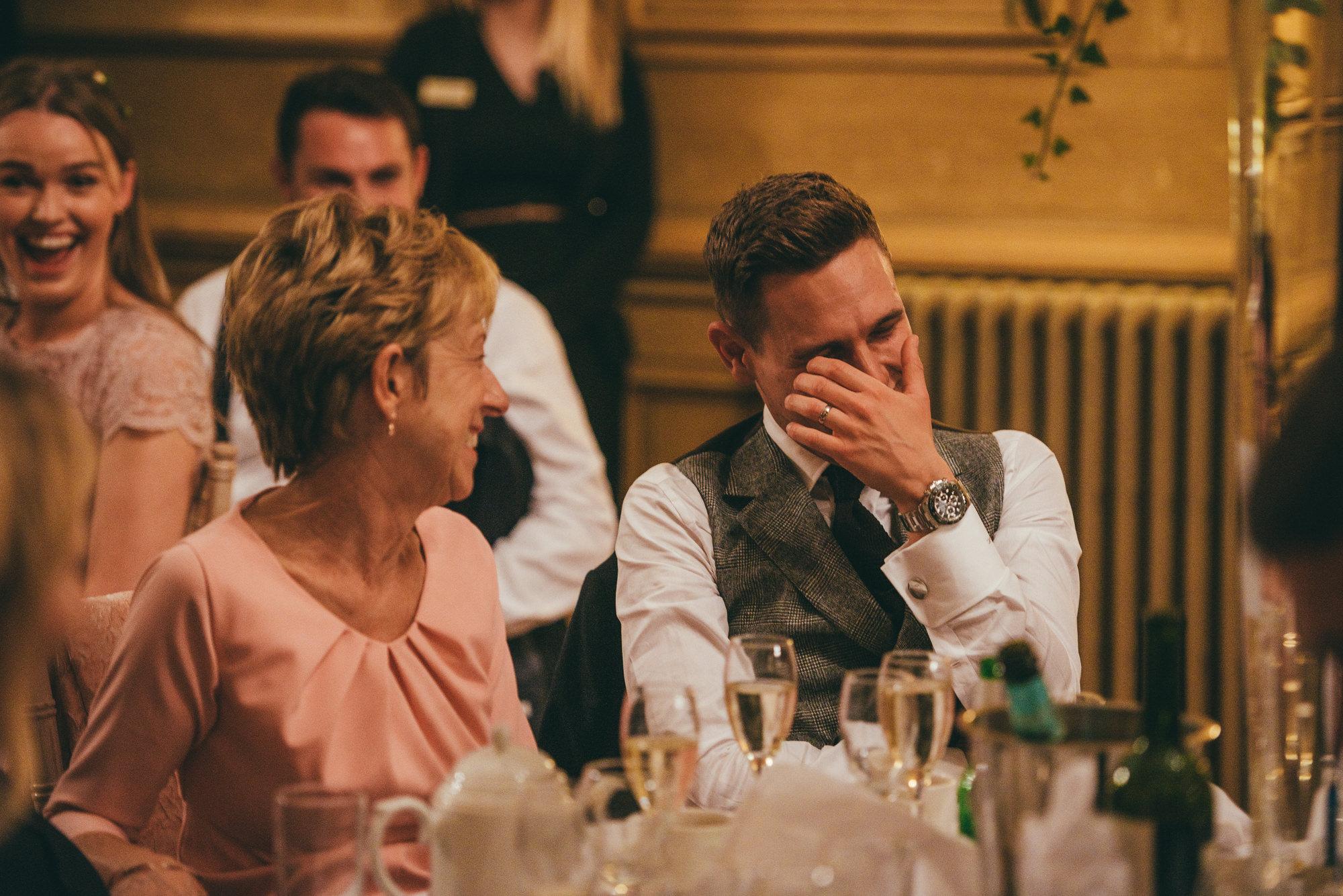groom reacts to bestman speech