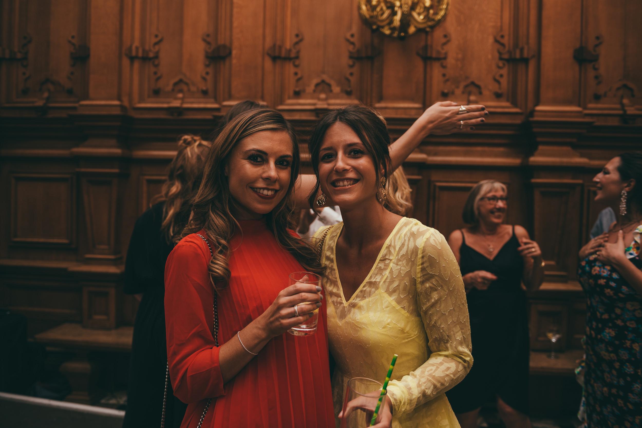 wedding guests at harlaxton manor