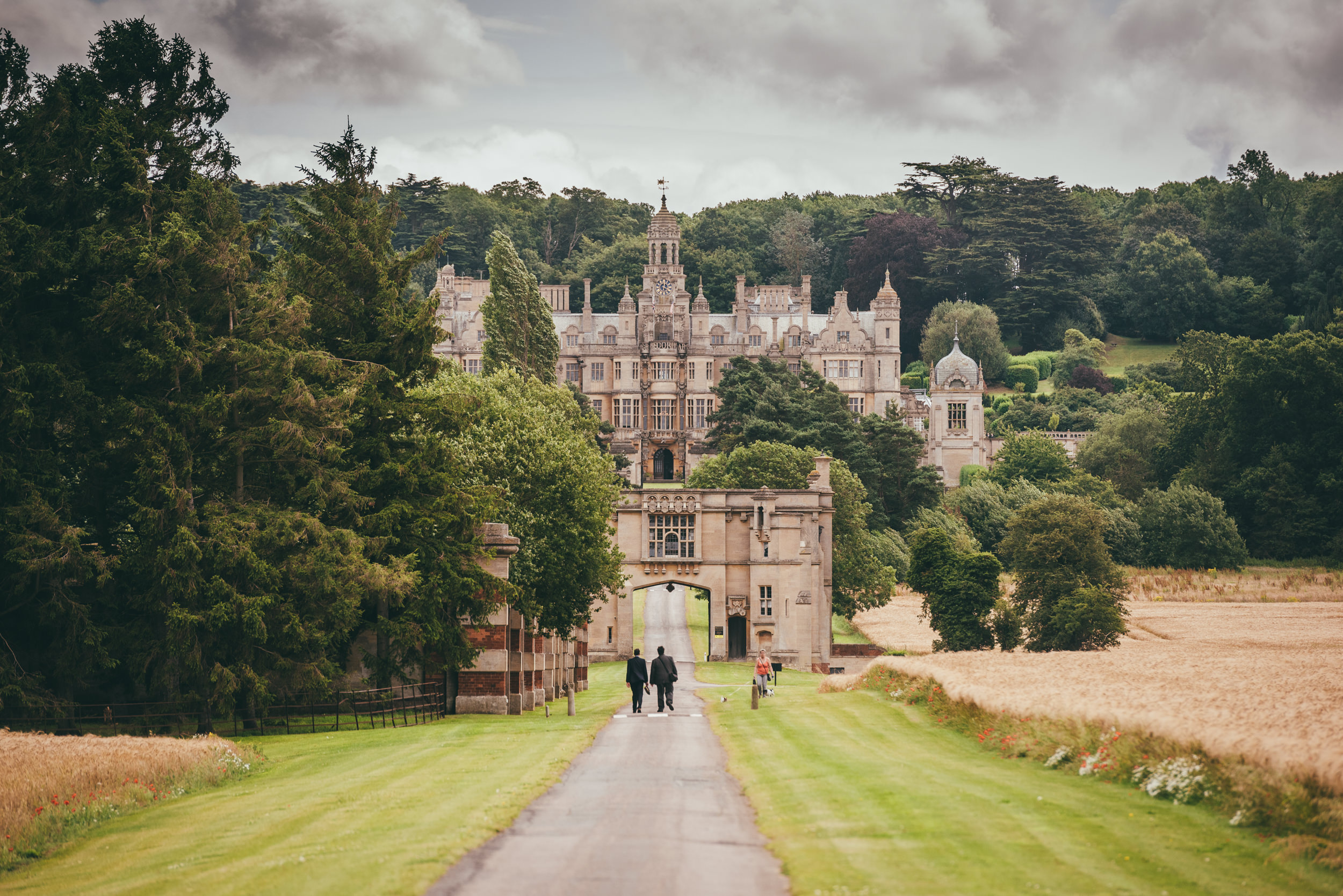 Photograph of Harlaxton Manor up the long drive
