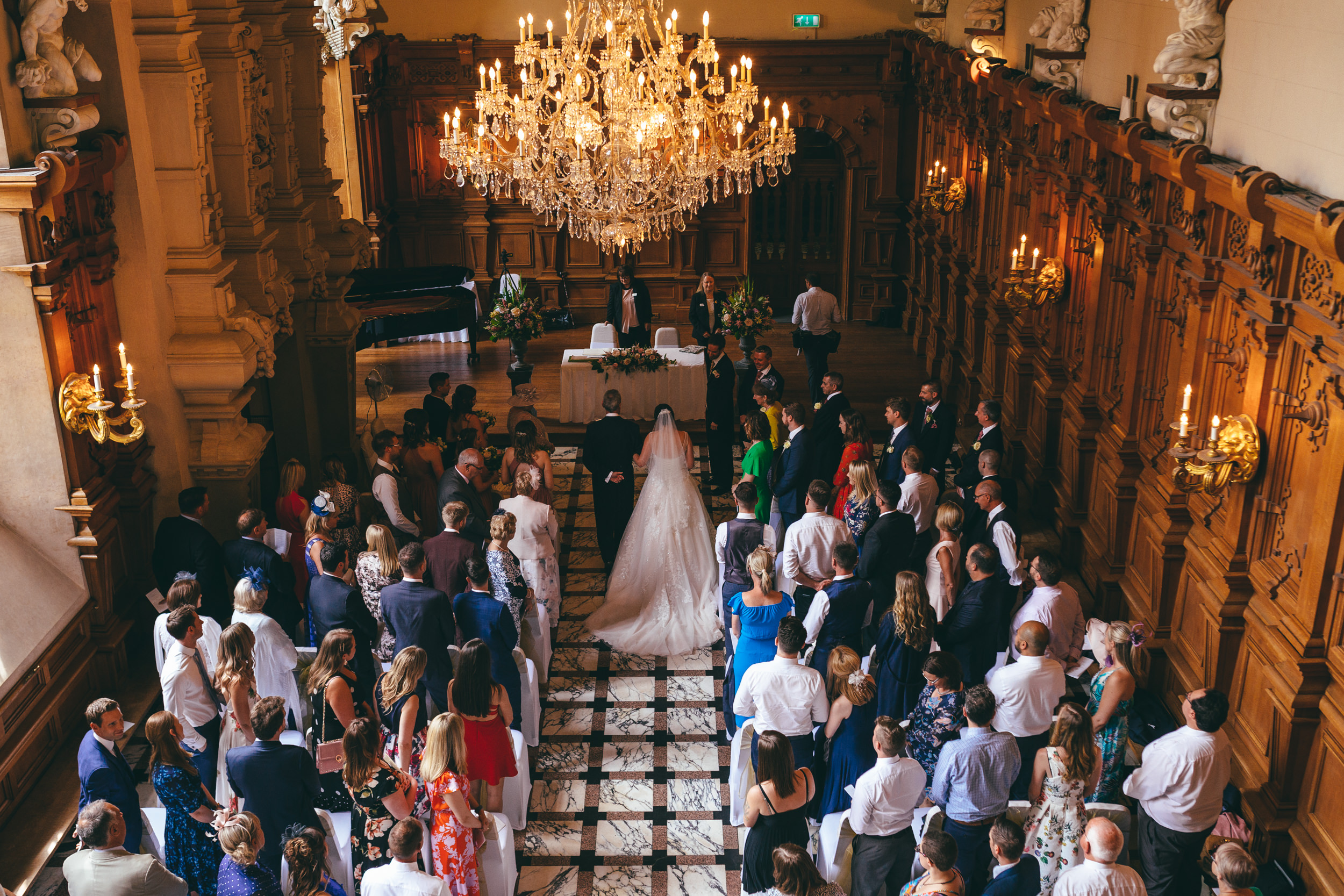 Wedding ceremony view from the balcony at Harlaxton Manor