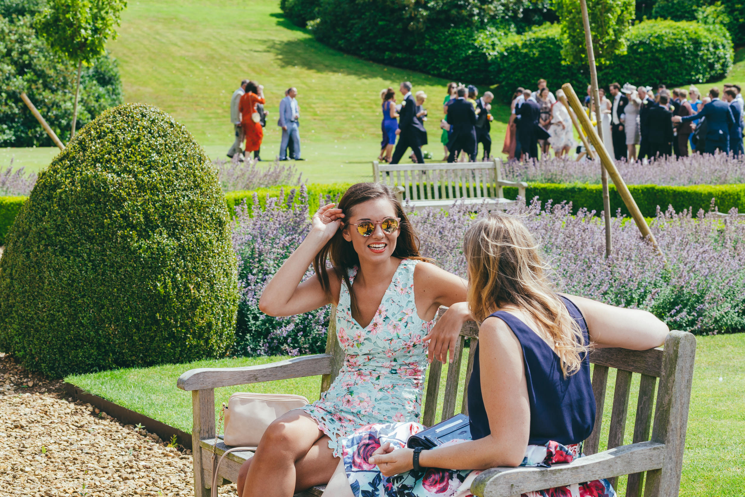 friends talking at Harlaxton Manor