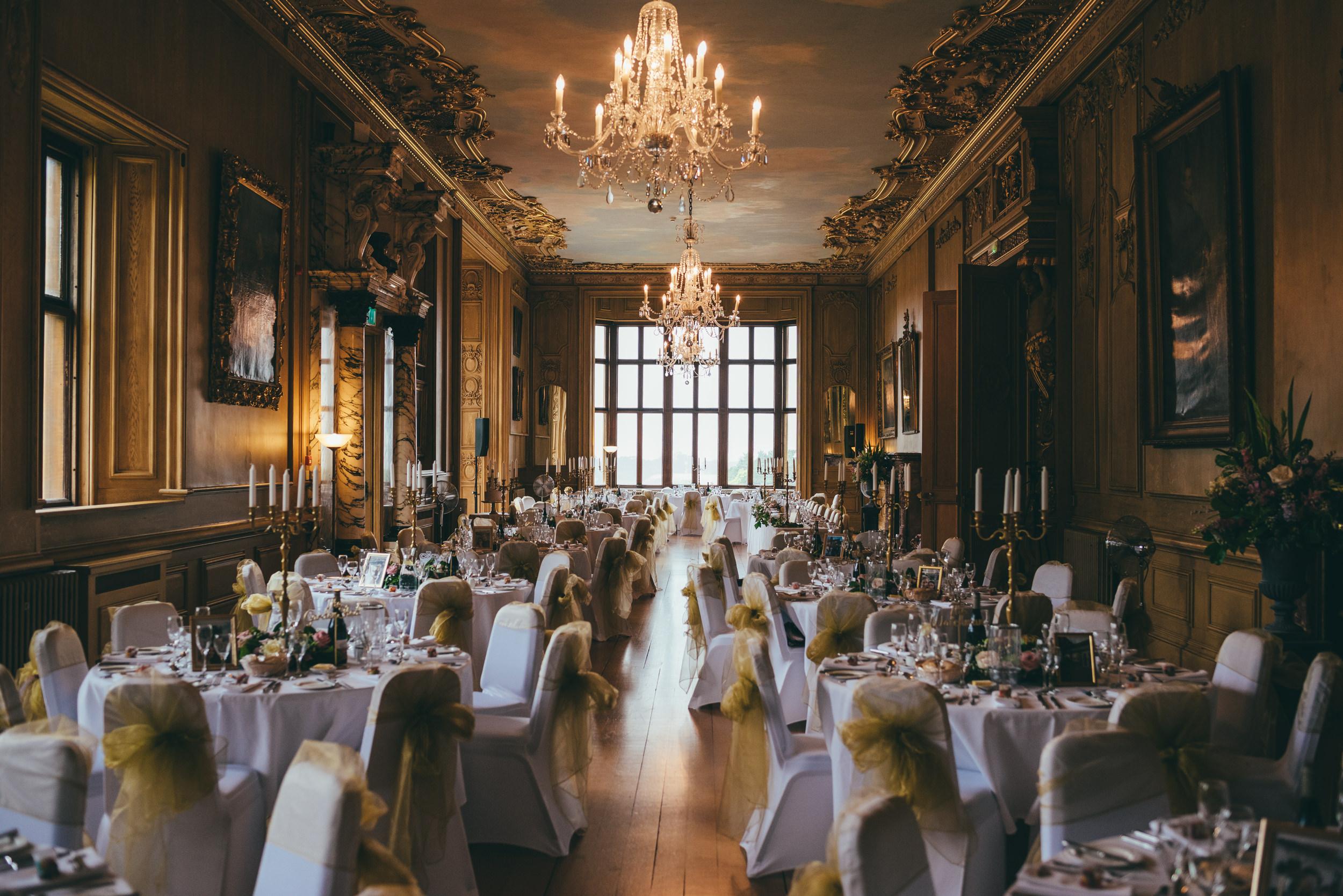 Wedding day reception room at Harlaxton Manor