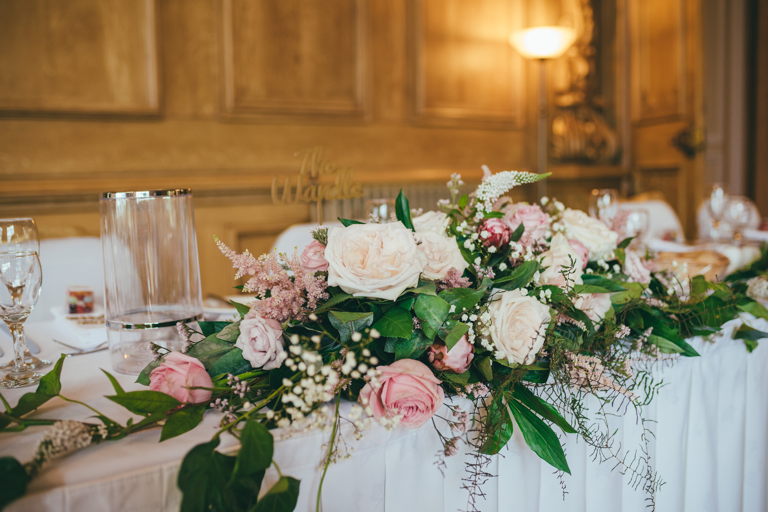 Flowers on the top table at Harlaxton Manor