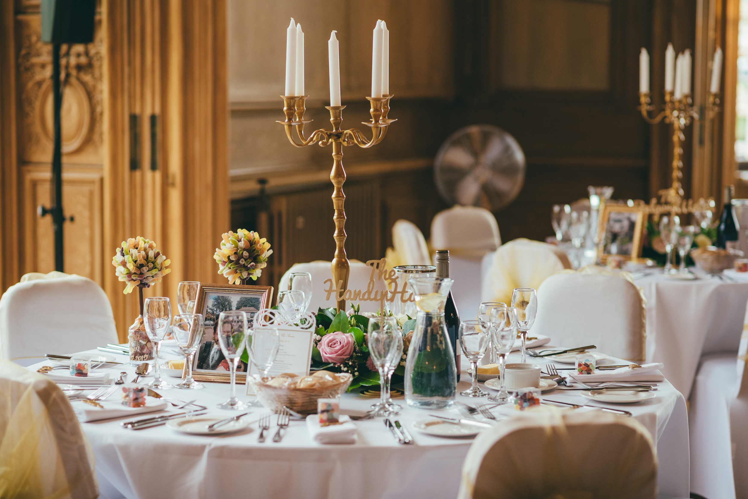 Wedding table details at Harlaxton Manor