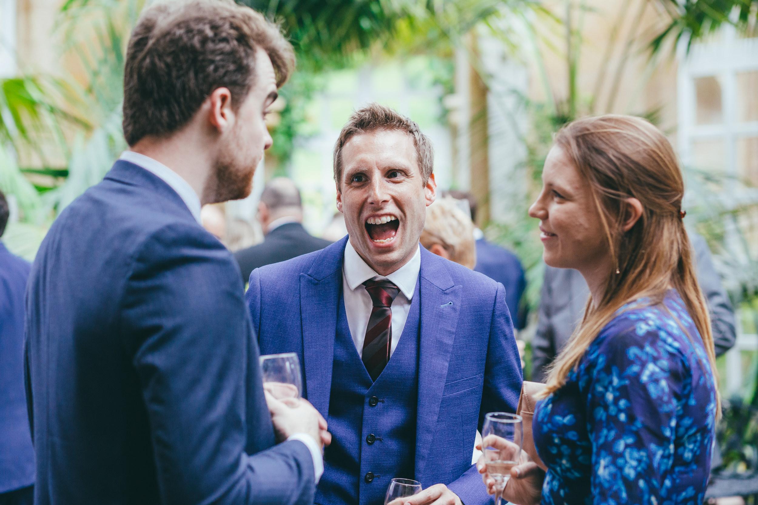 Guys sharing a joke at Harlaxton Manor