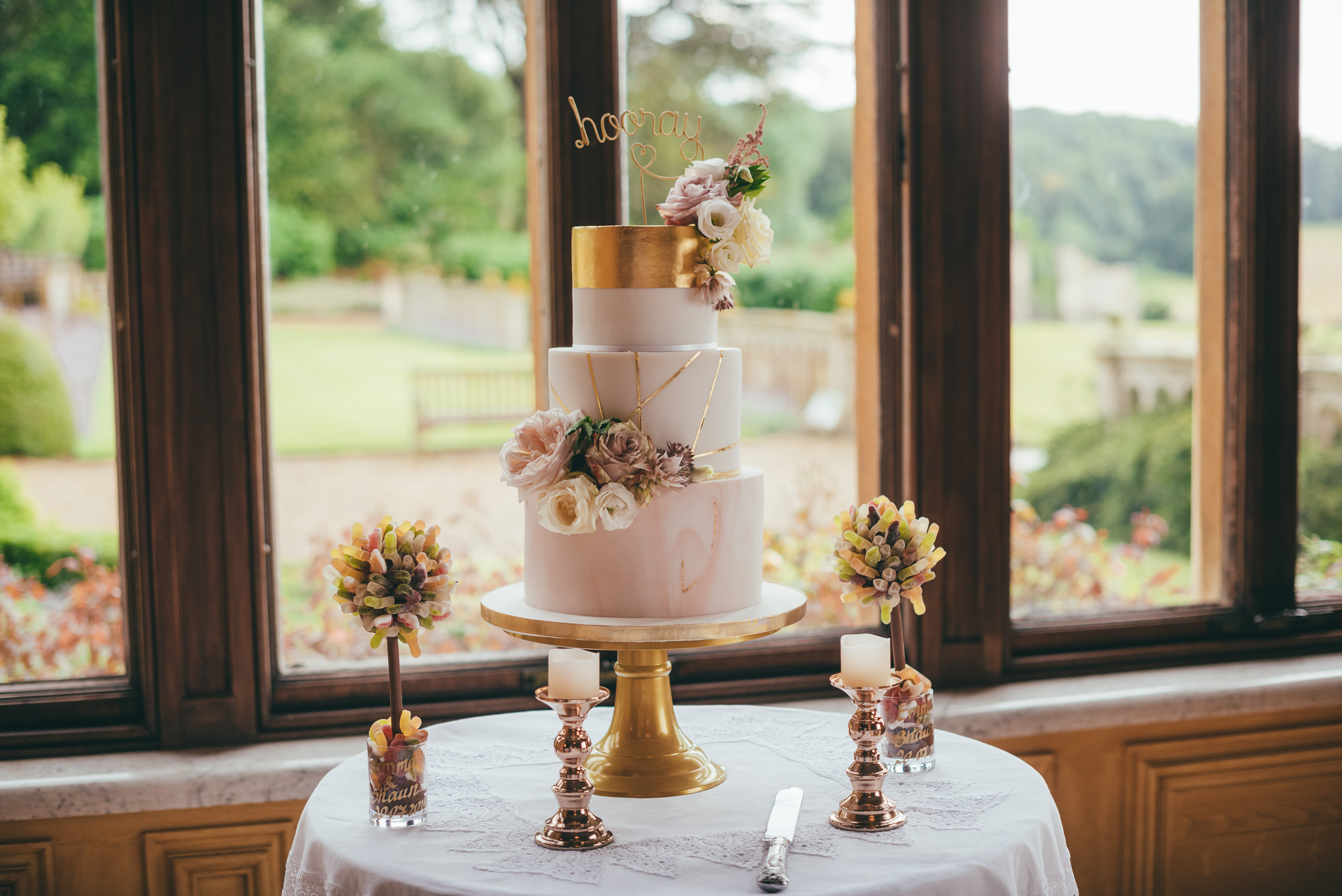 Wedding cake by the window at Harlaxton Manor
