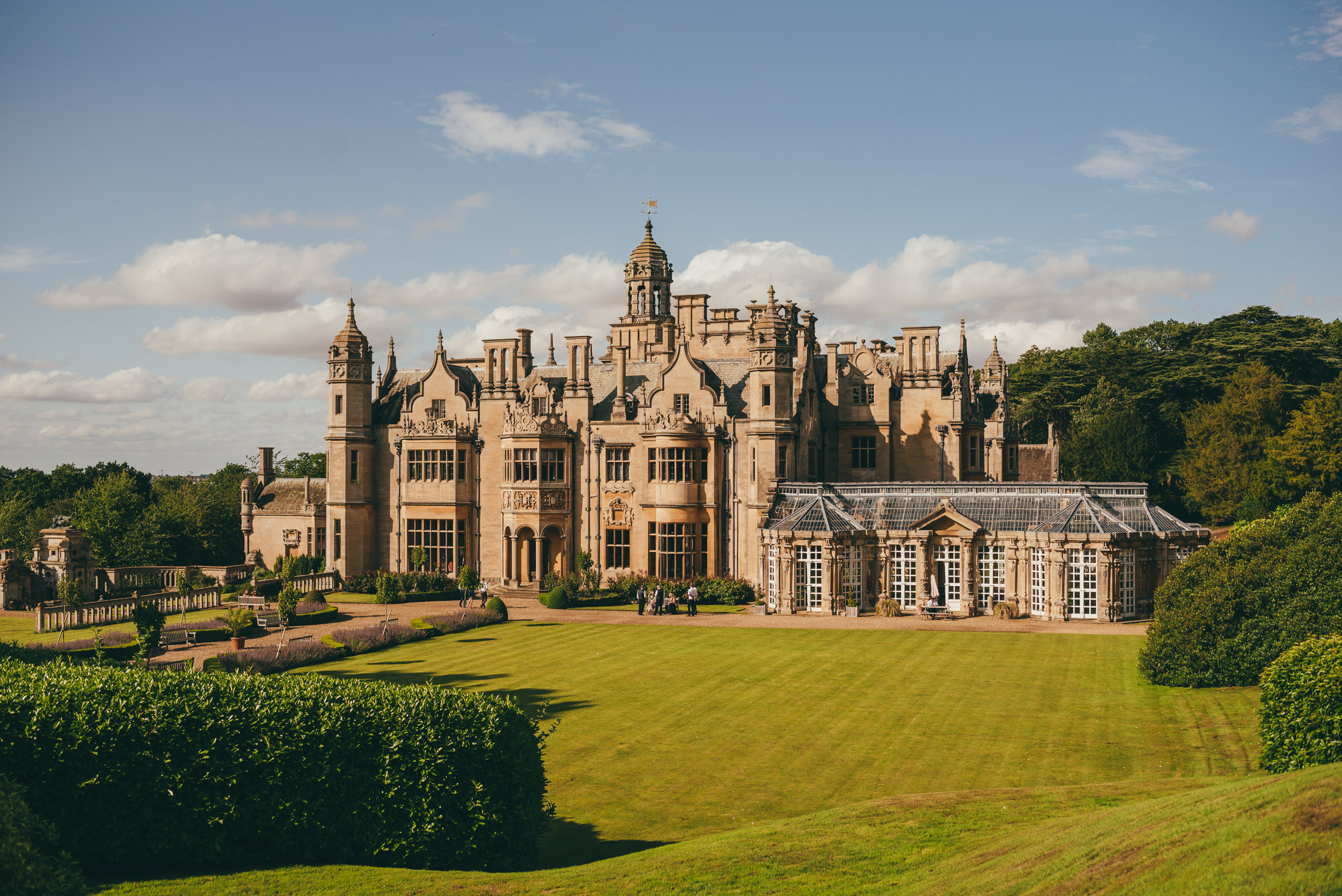 Rear view from high up at Harlaxton Manor on a wedding day