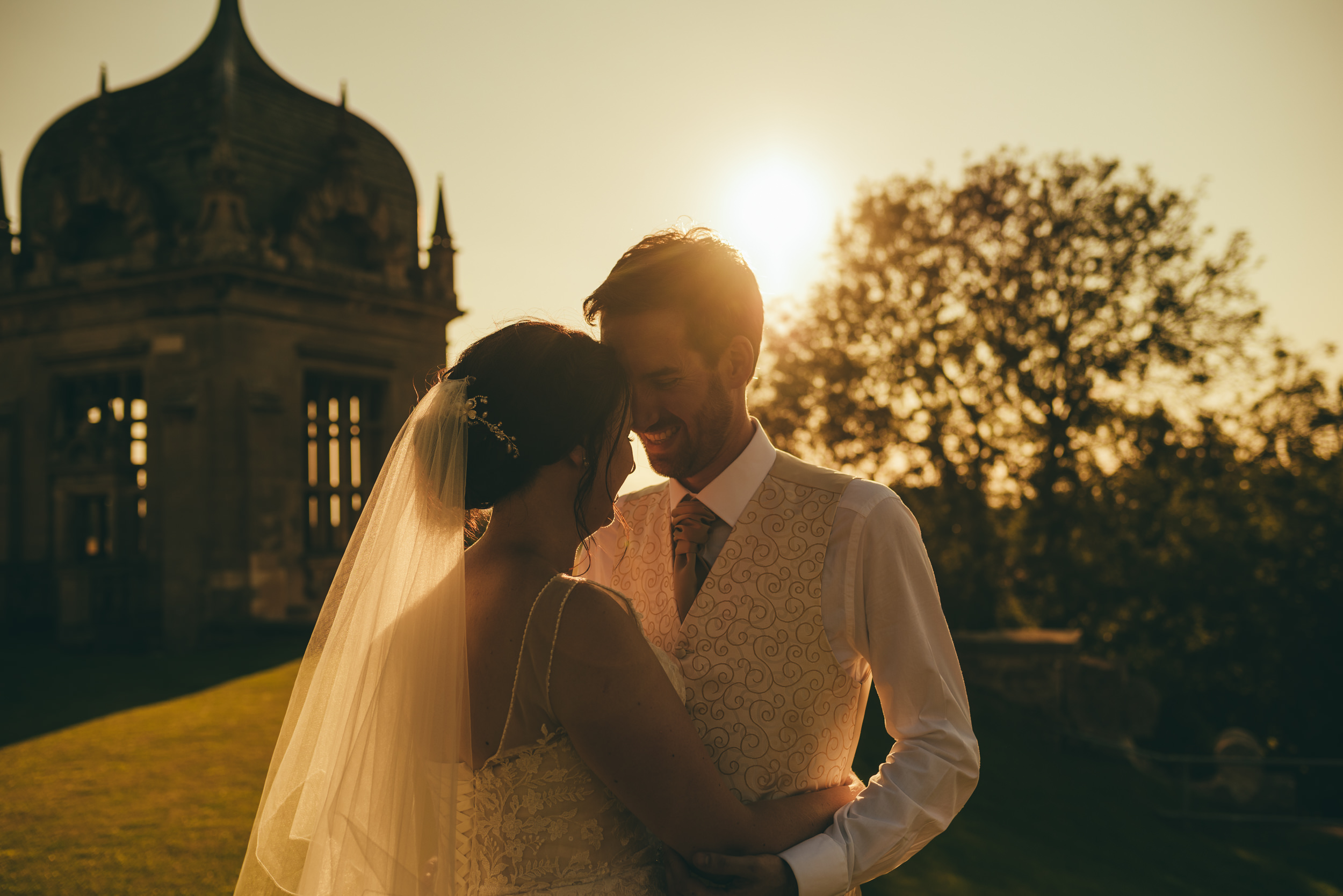 Bride and groom at Harlaxton Manor
