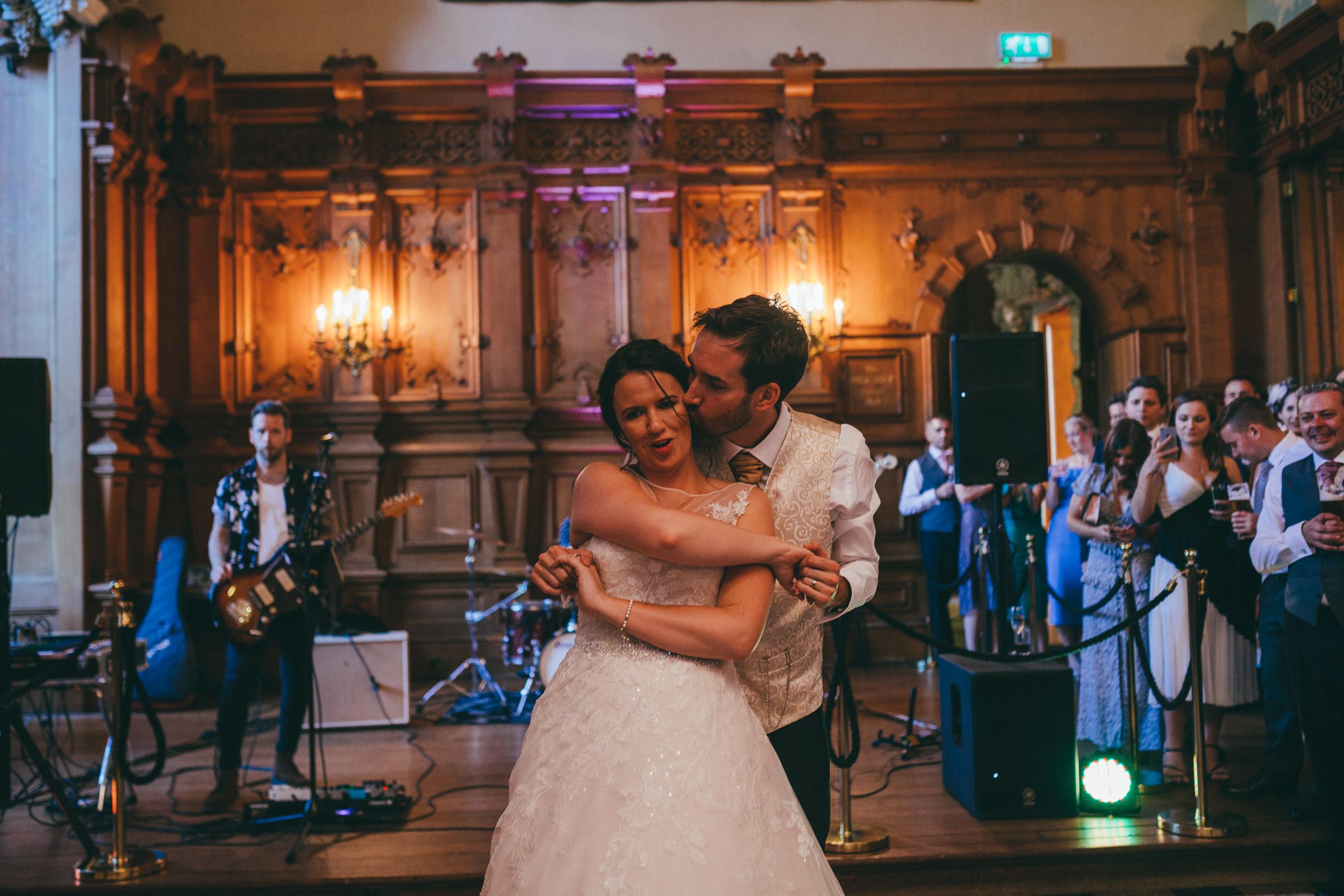 Bride and groom dancing at Harlaxton Manor
